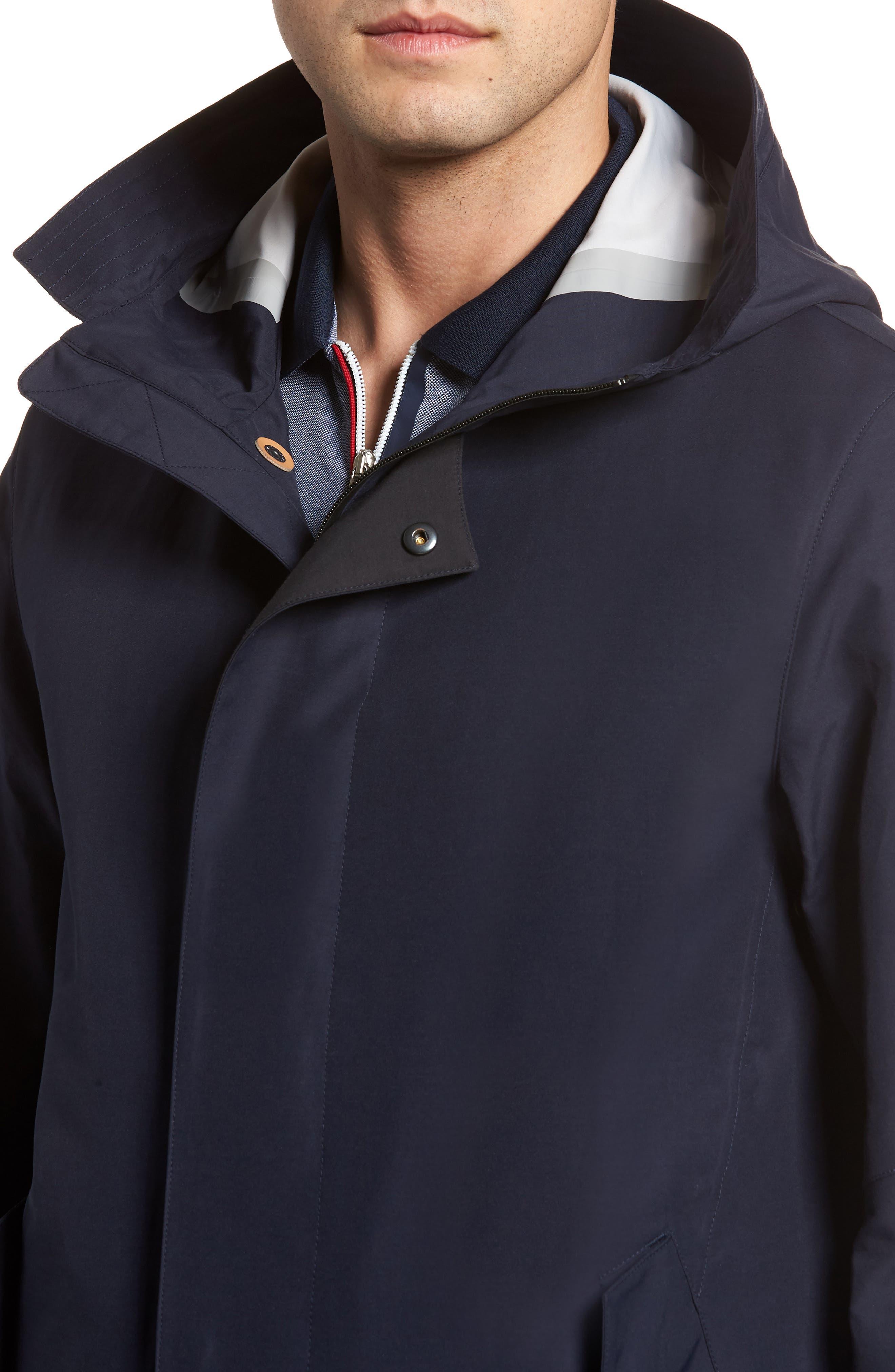 Bonded Cotton Blend Rain Jacket,                             Alternate thumbnail 4, color,                             NAVY