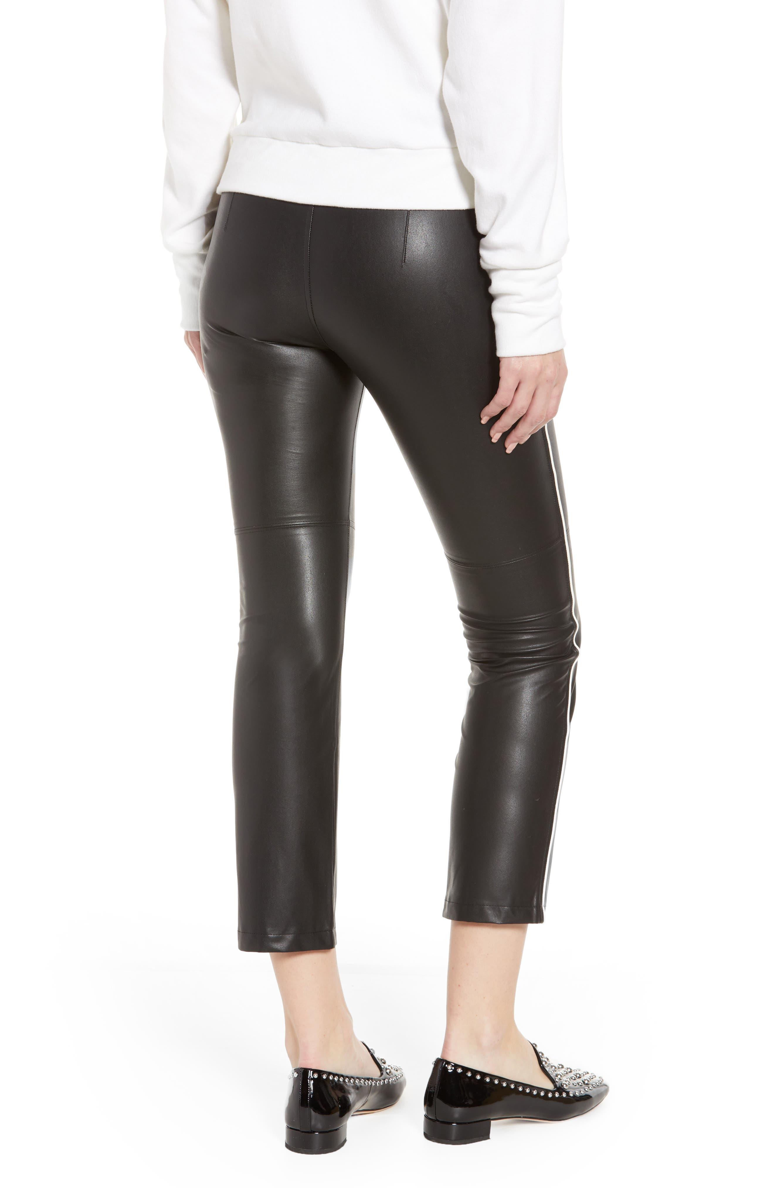 Gemma Faux Leather Skimmer Pants,                             Alternate thumbnail 2, color,                             BLACK