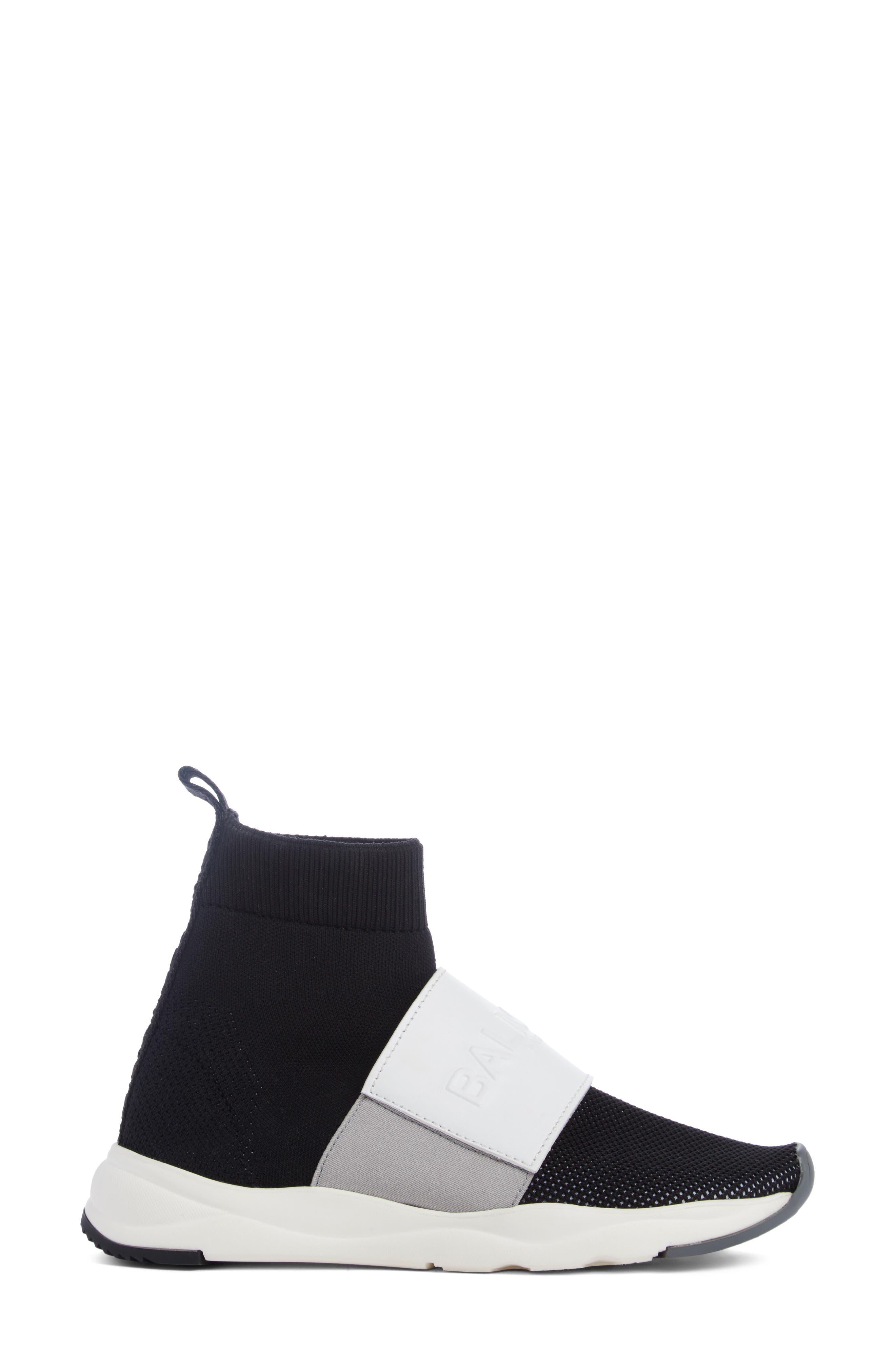 Cameron Logo Strap Sock Sneaker,                             Alternate thumbnail 3, color,                             001
