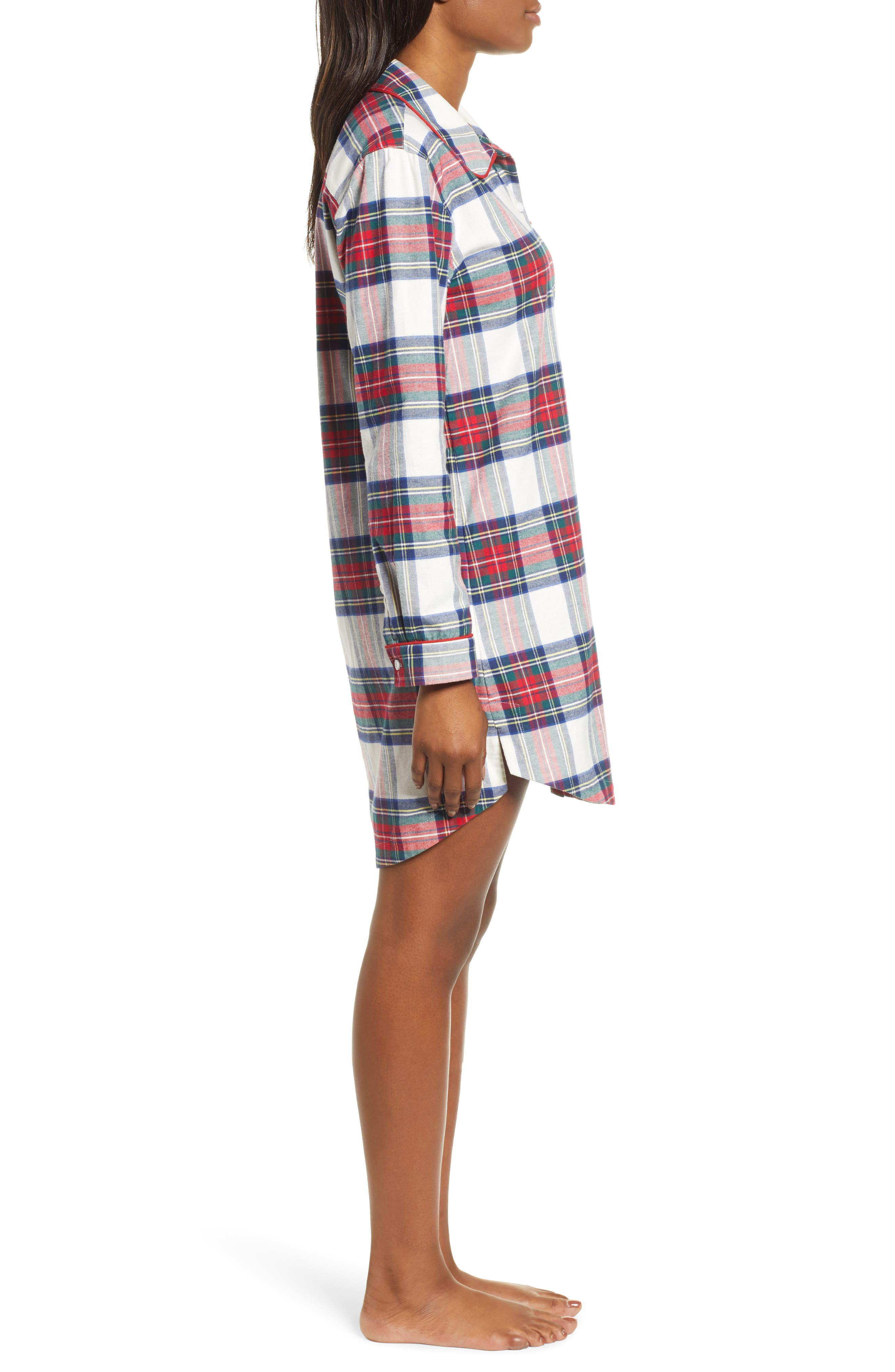 Jolly Plaid Flannel Pajama Shirt,                             Alternate thumbnail 3, color,                             FROST