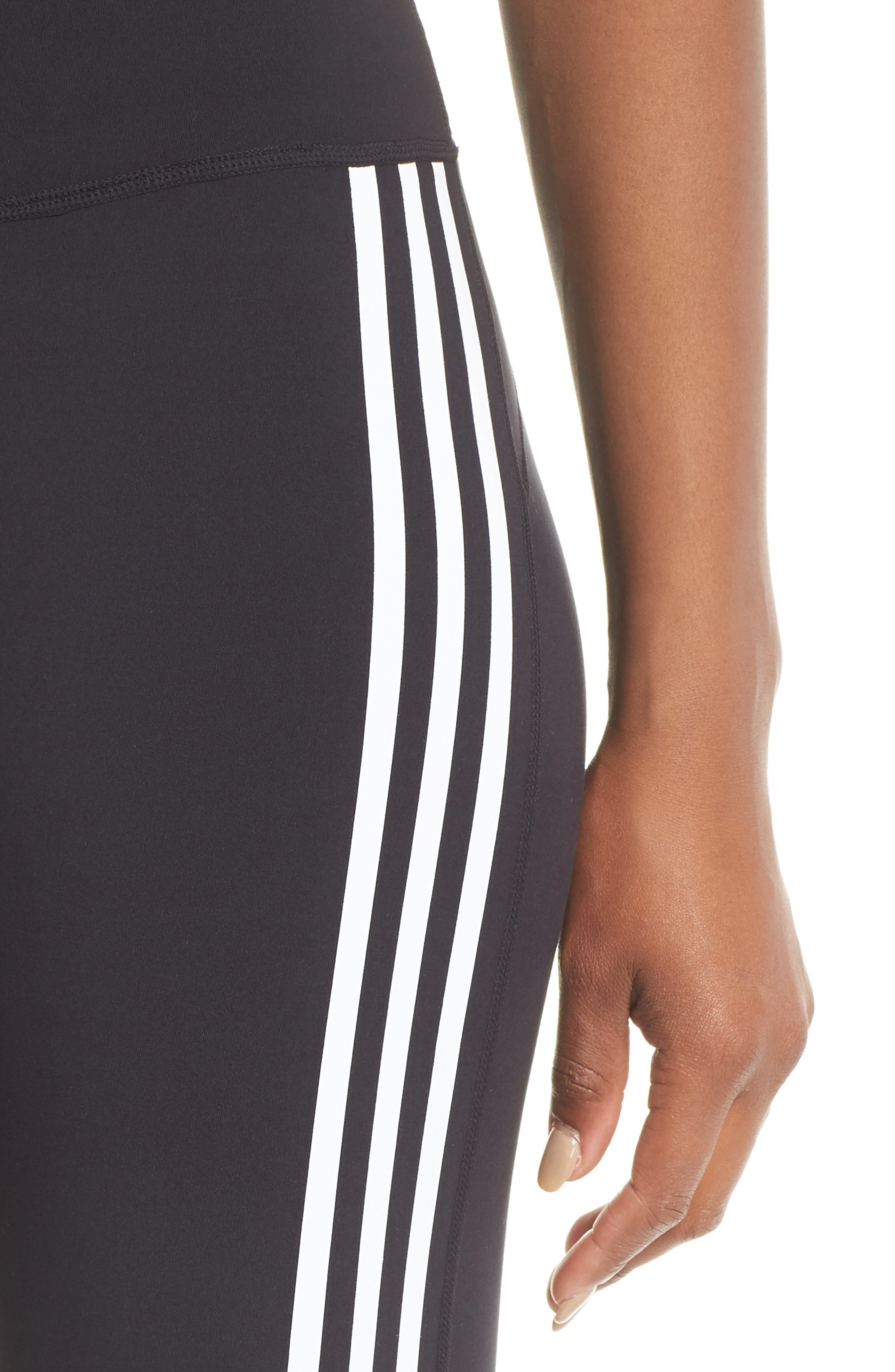 Believe This 3-Stripes High Waist Ankle Leggings,                             Alternate thumbnail 4, color,                             BLACK/ WHITE