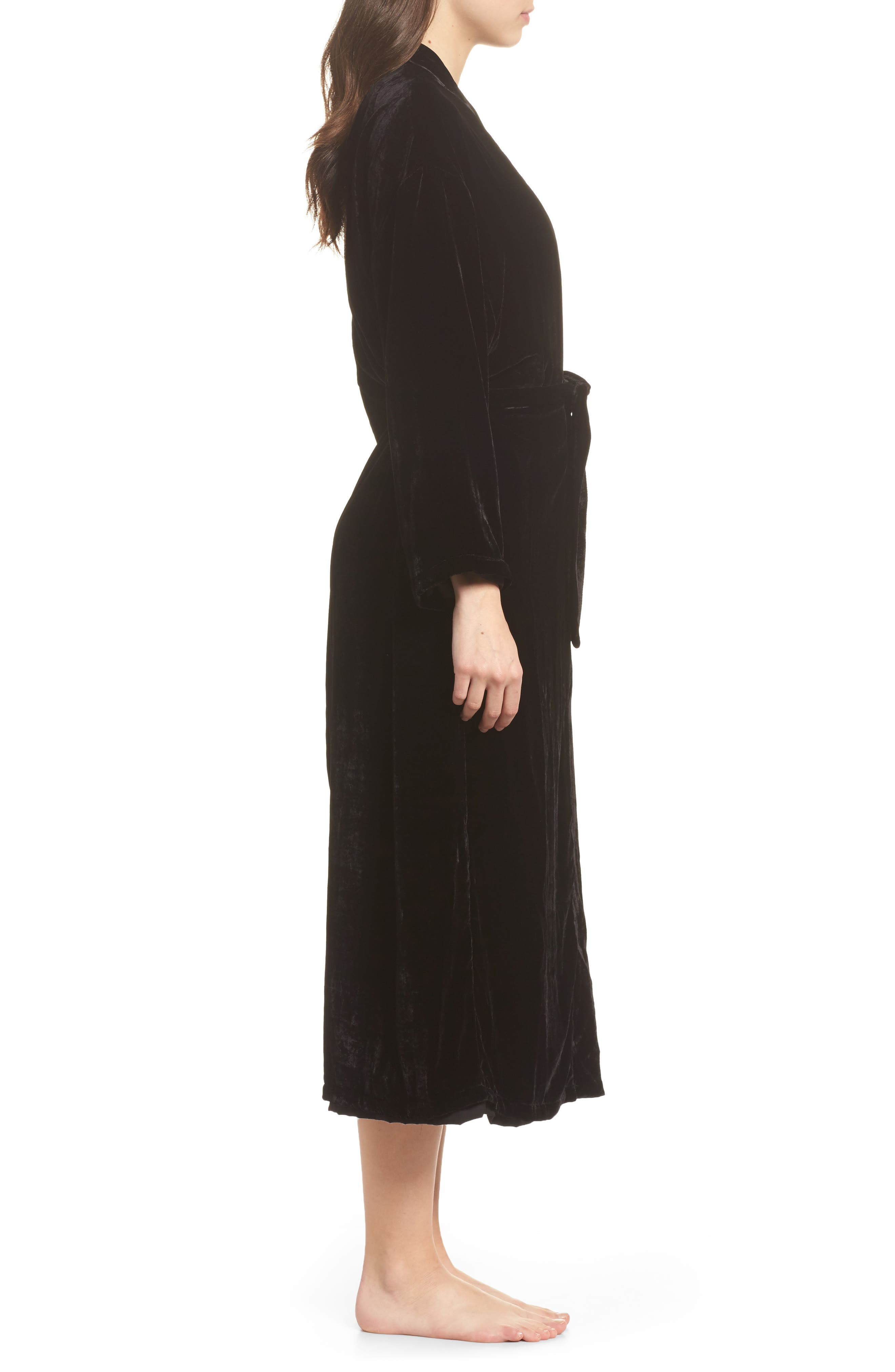 Long Velvet Robe,                             Alternate thumbnail 3, color,                             BLACK