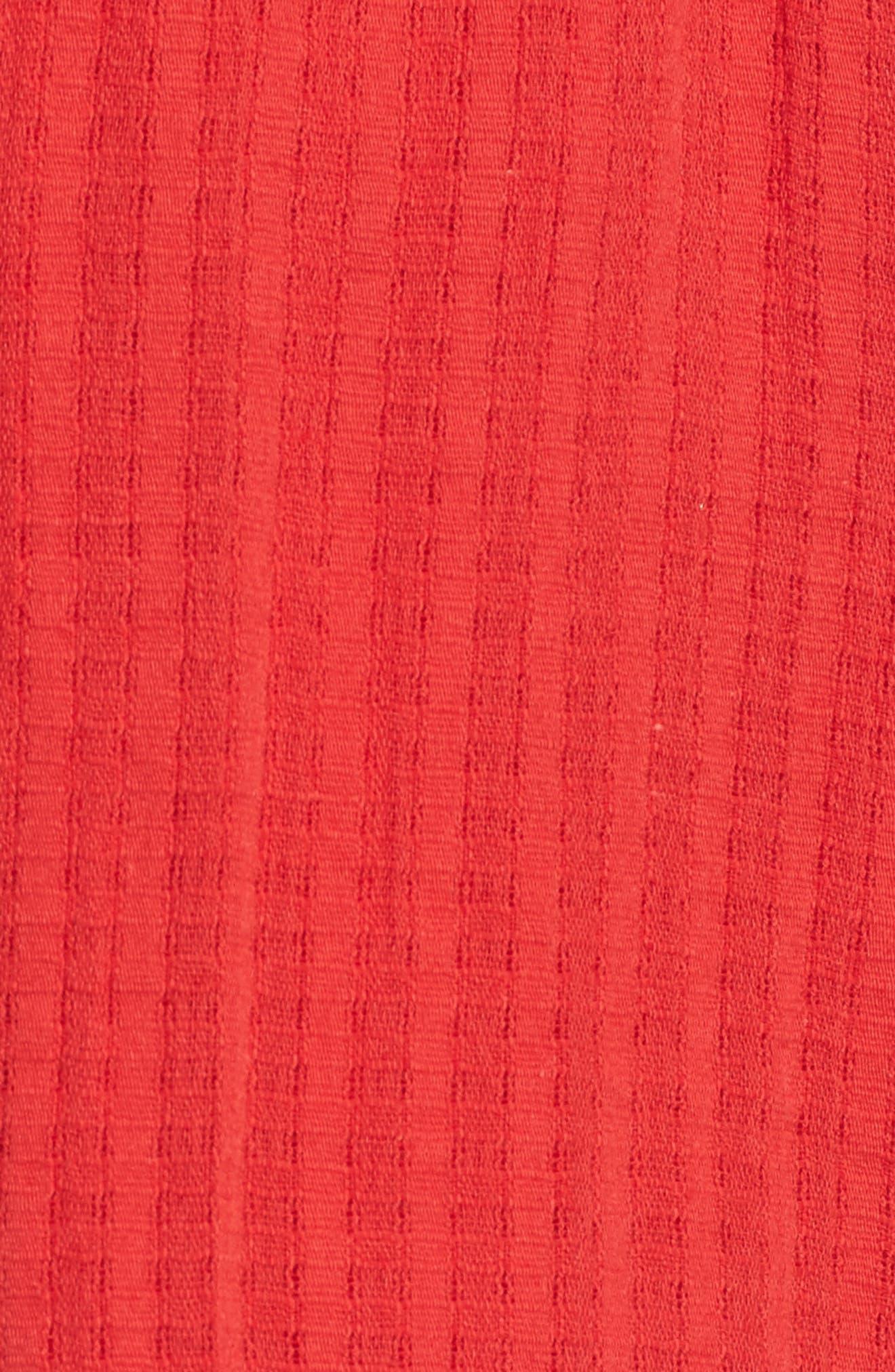 Pompom Trim Shorts,                             Alternate thumbnail 5, color,                             RED