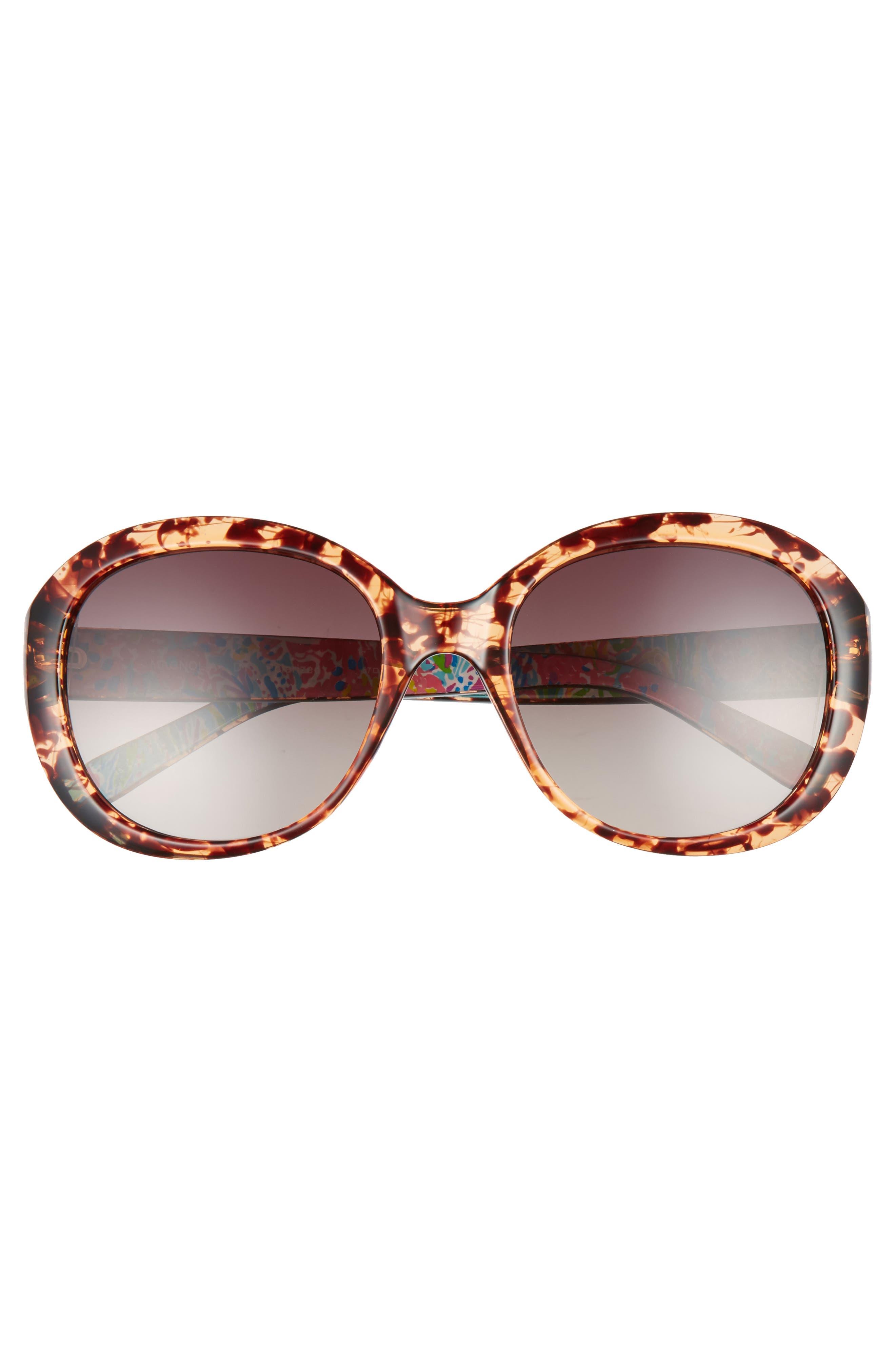 Magnolia 57mm Polarized Round Sunglasses,                             Alternate thumbnail 3, color,                             HAVANA
