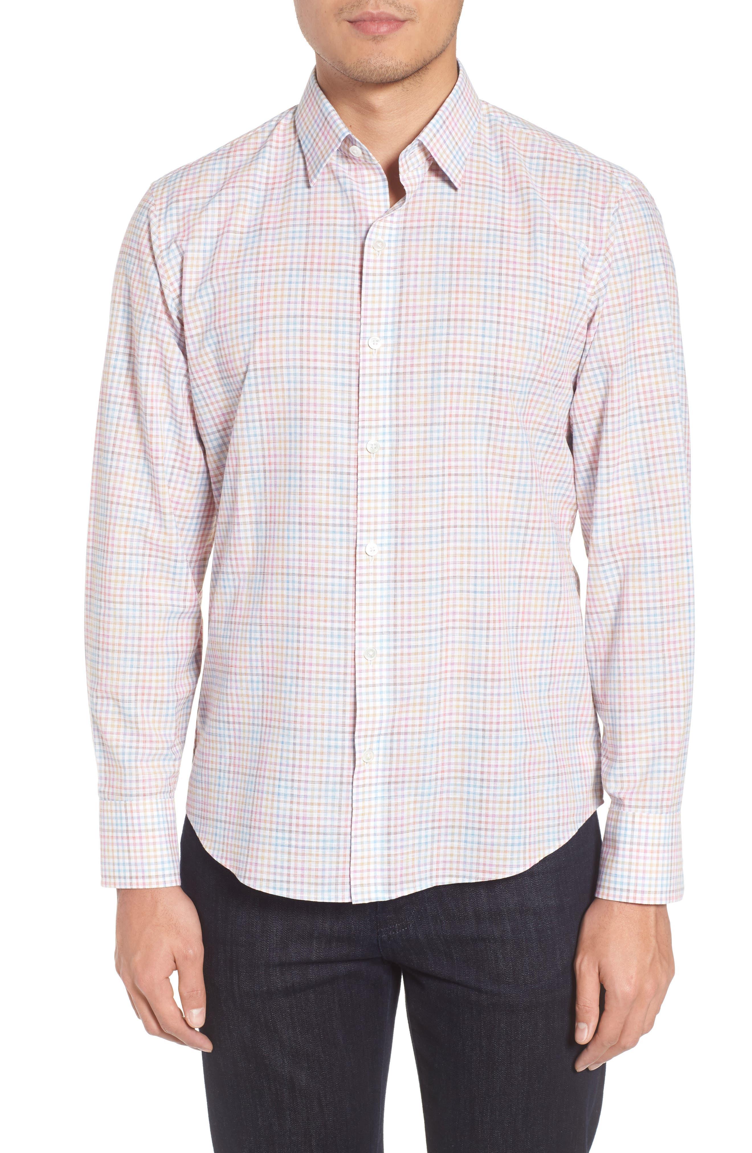 Jigwin Slim Fit Gingham Sport Shirt,                         Main,                         color, 100