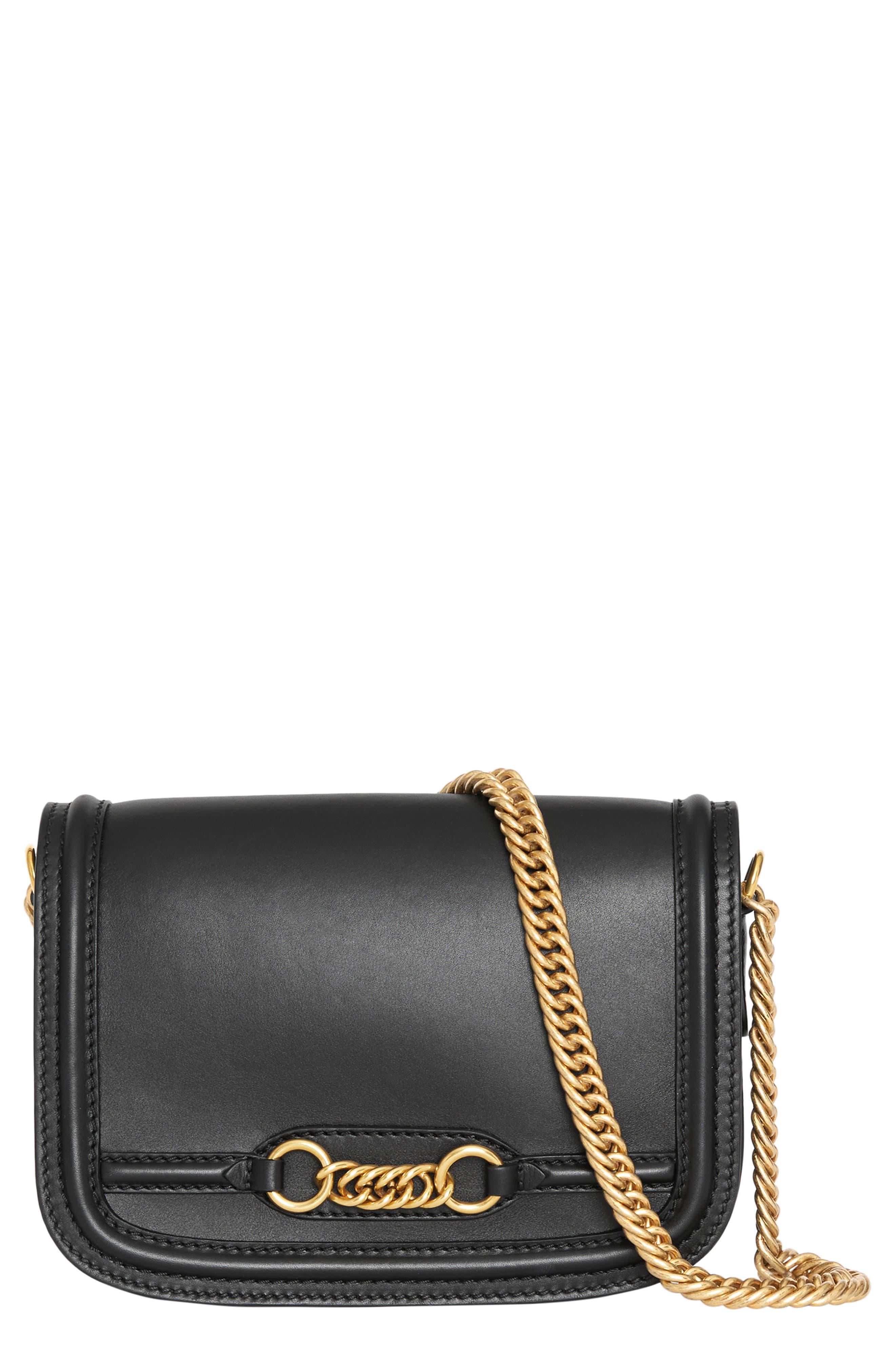 Link Flap Leather Crossbody Bag,                         Main,                         color, BLACK