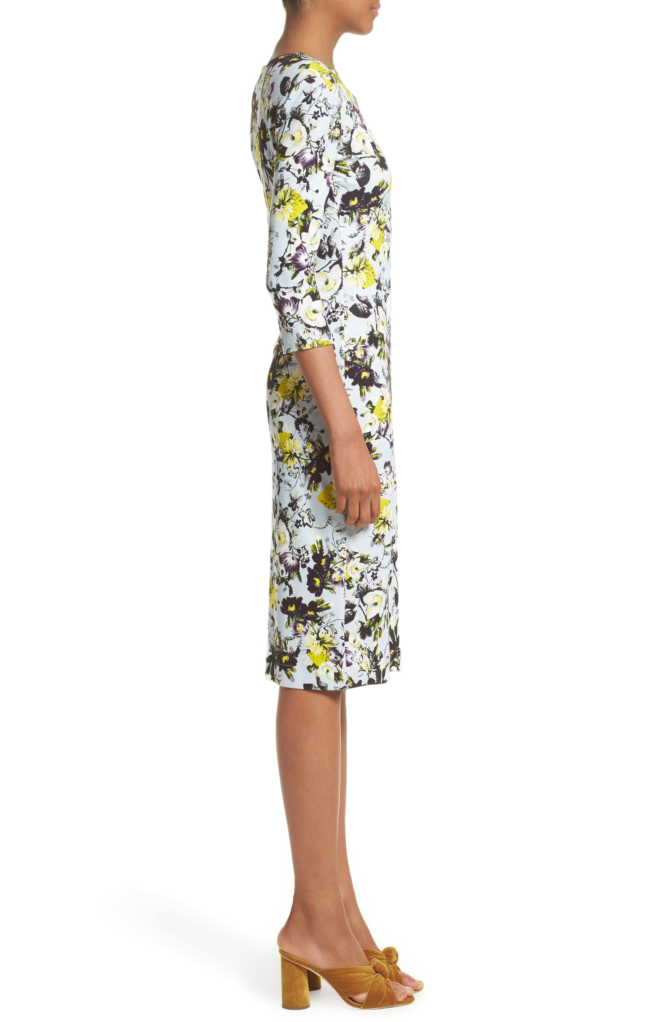 Floral Jersey Sheath Dress,                             Alternate thumbnail 3, color,                             700