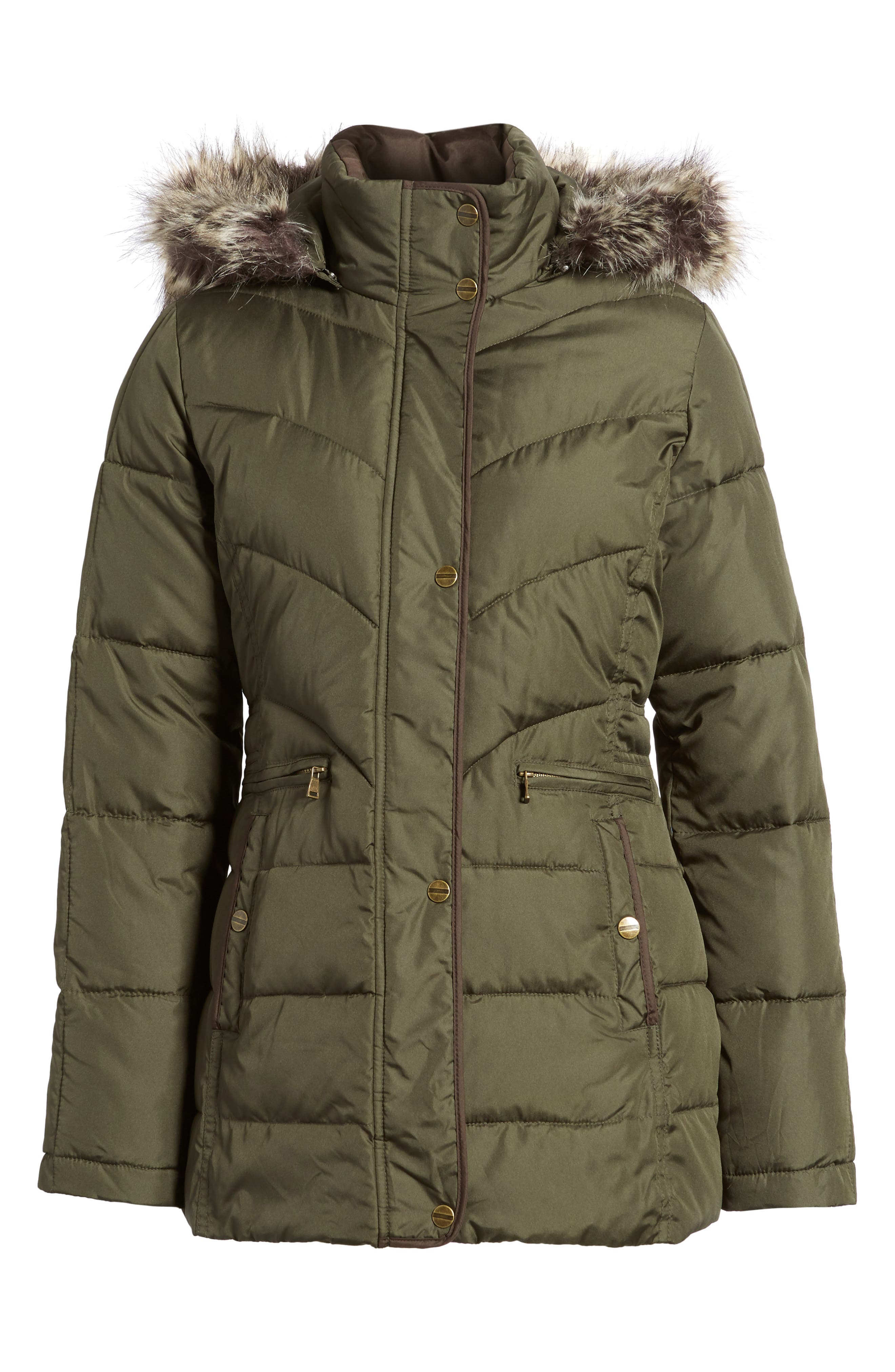 Quilted Coat with Faux Fur Trim,                             Alternate thumbnail 5, color,                             312
