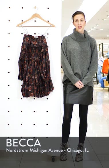 Monet Metallic Floral Cold Shoulder Silk Blend Dress, sales video thumbnail