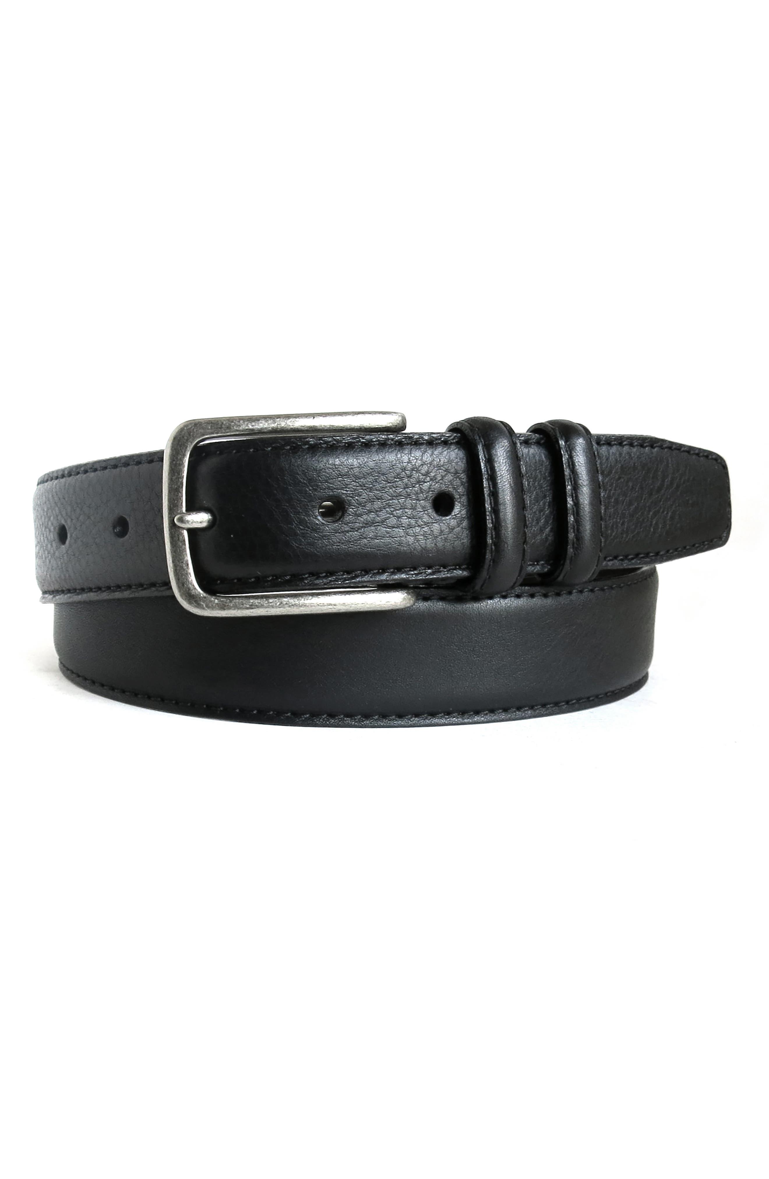 Clapton Leather Belt,                         Main,                         color, BLACK