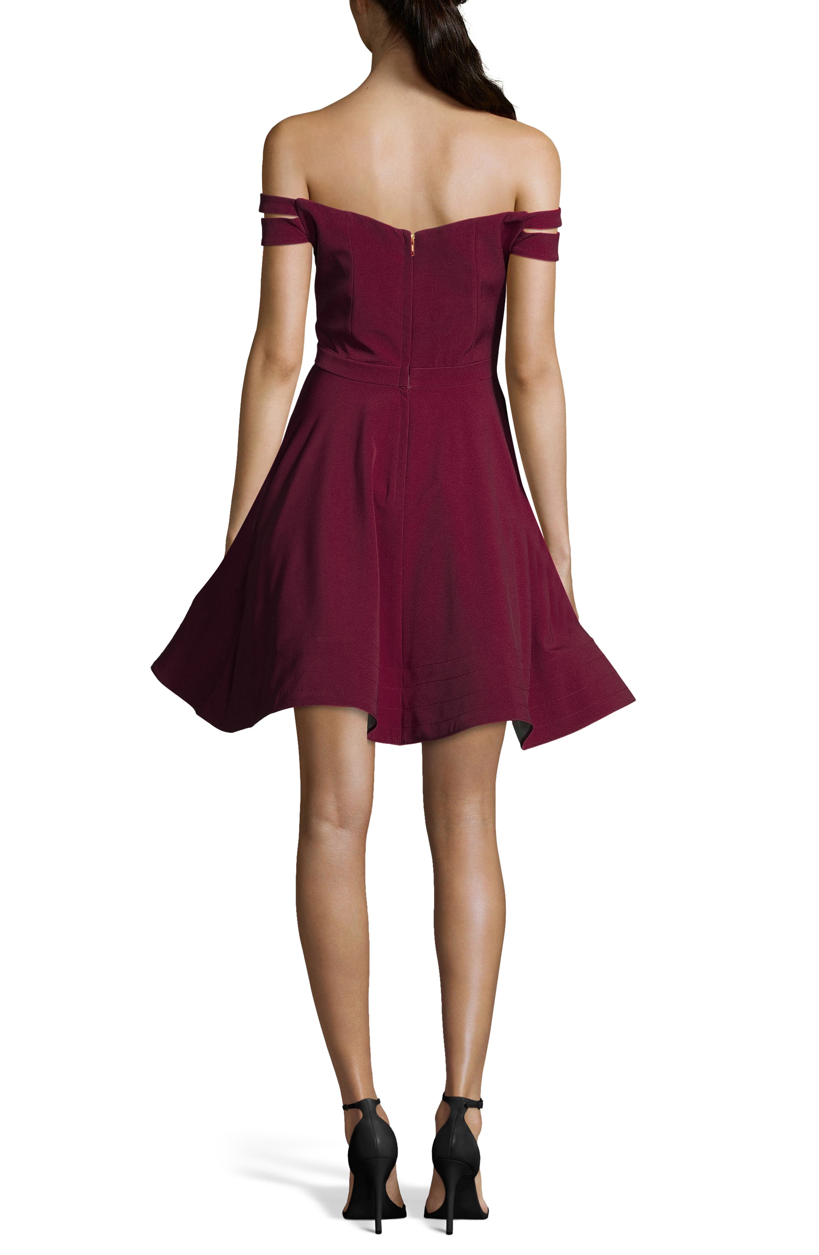 XSCAPE,                             Double Strap Off the Shoulder Party Dress,                             Alternate thumbnail 2, color,                             WINE