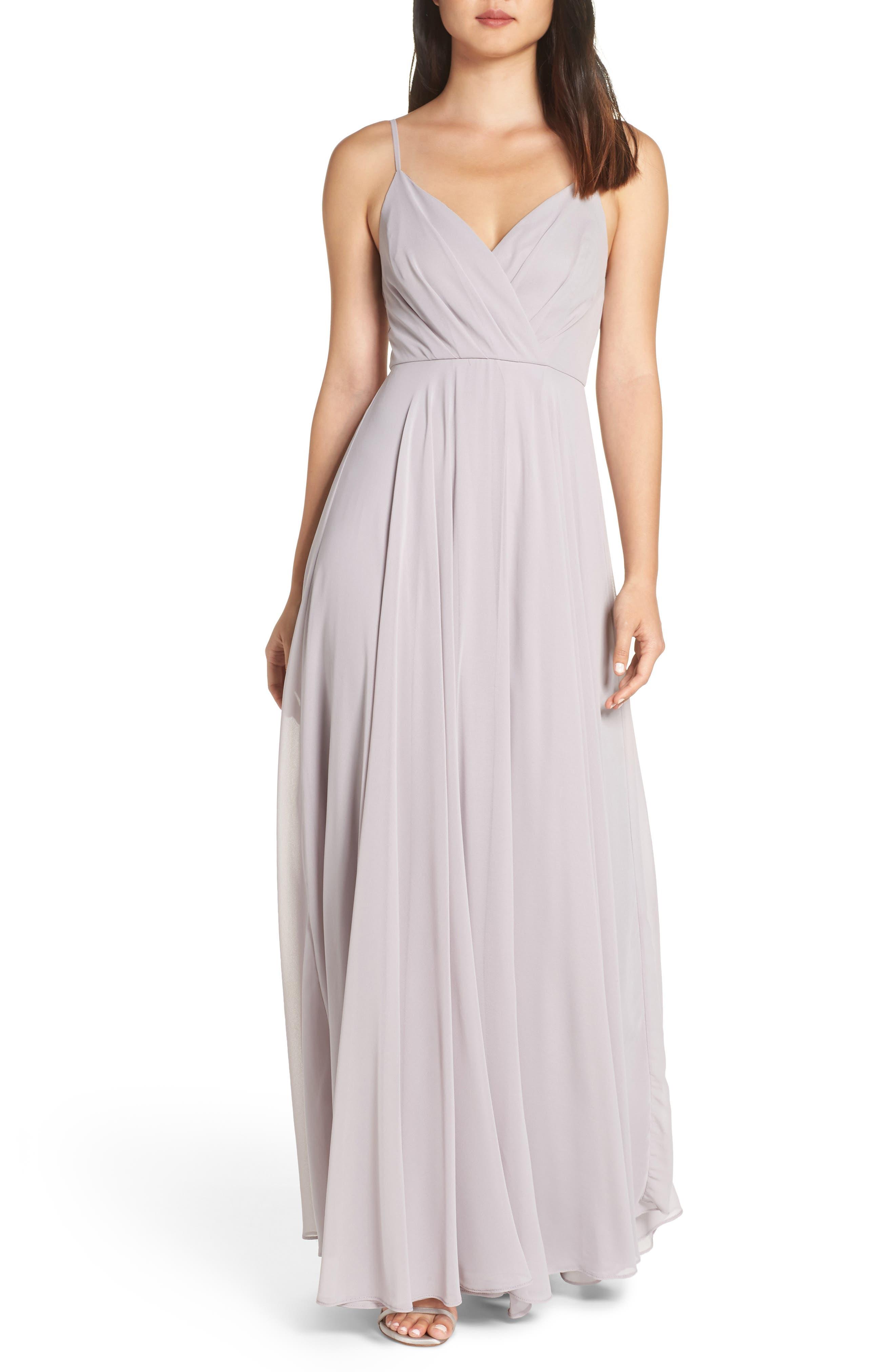 LULUS Surplice Chiffon Gown, Main, color, LIGHT GREY