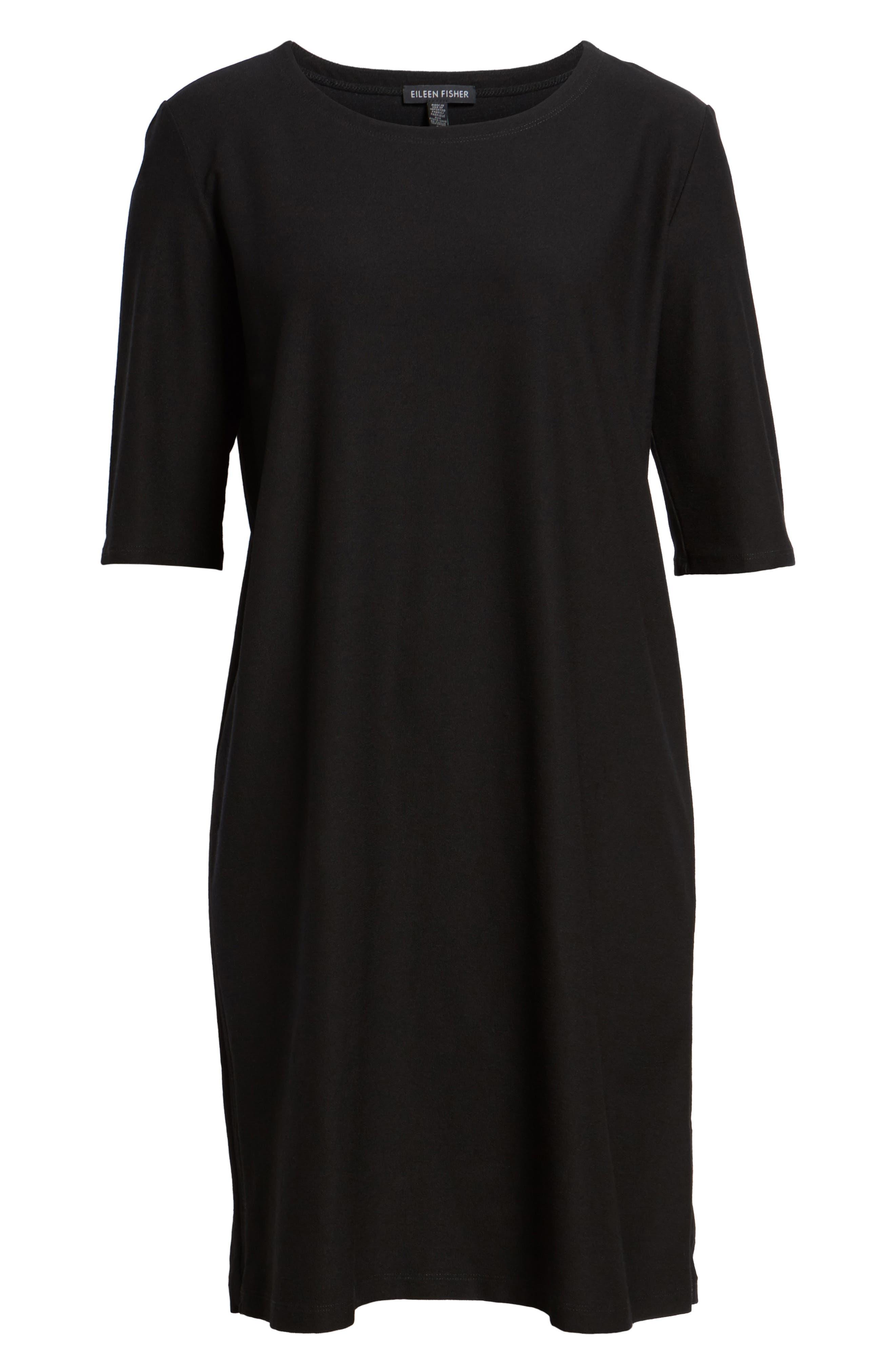 Stretch Knit Shift Dress,                             Alternate thumbnail 6, color,                             001