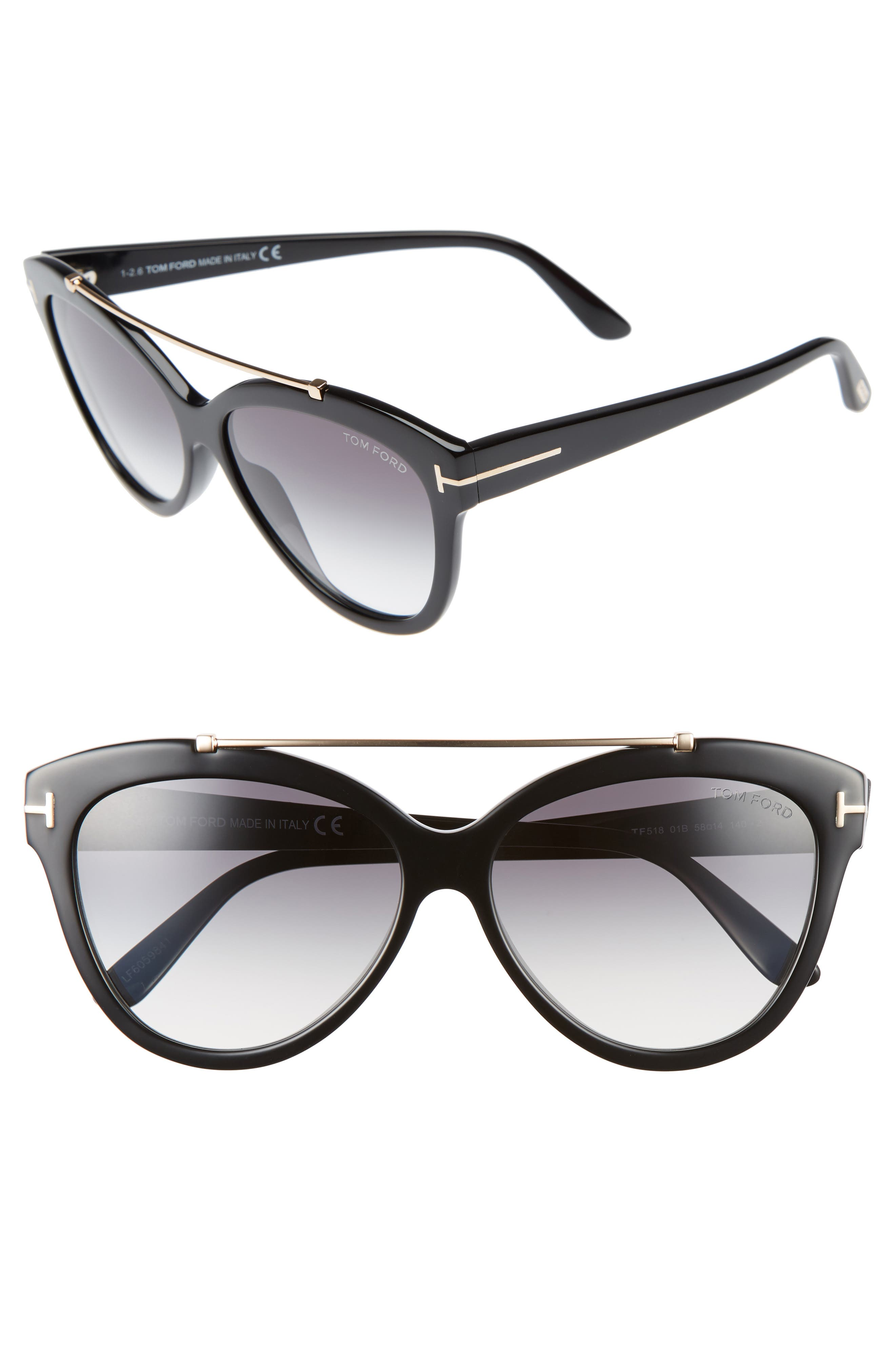 Livia 58mm Gradient Butterfly Sunglasses,                         Main,                         color, 001