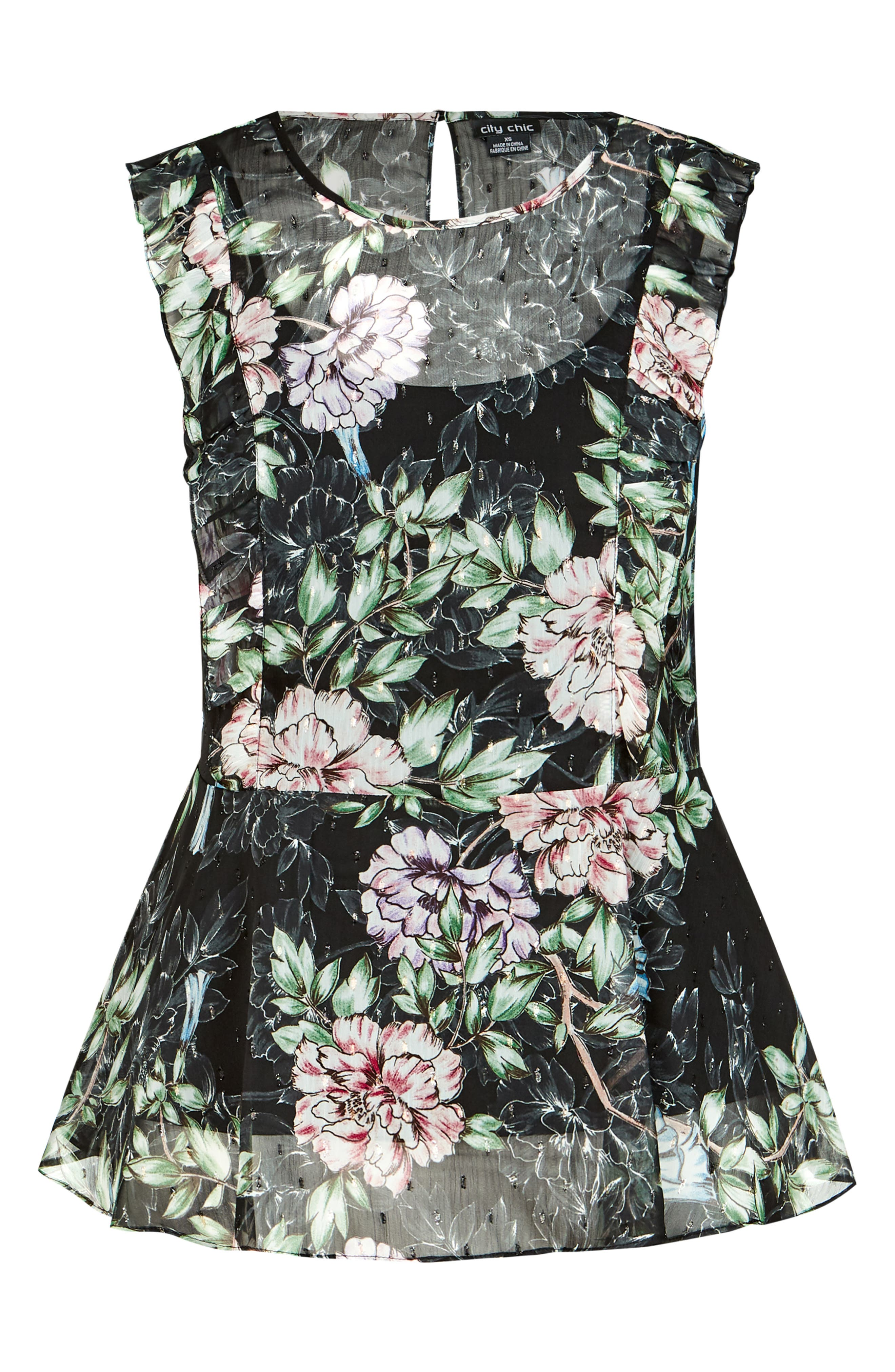 CITY CHIC,                             Delicate Blossom Top,                             Alternate thumbnail 4, color,                             001