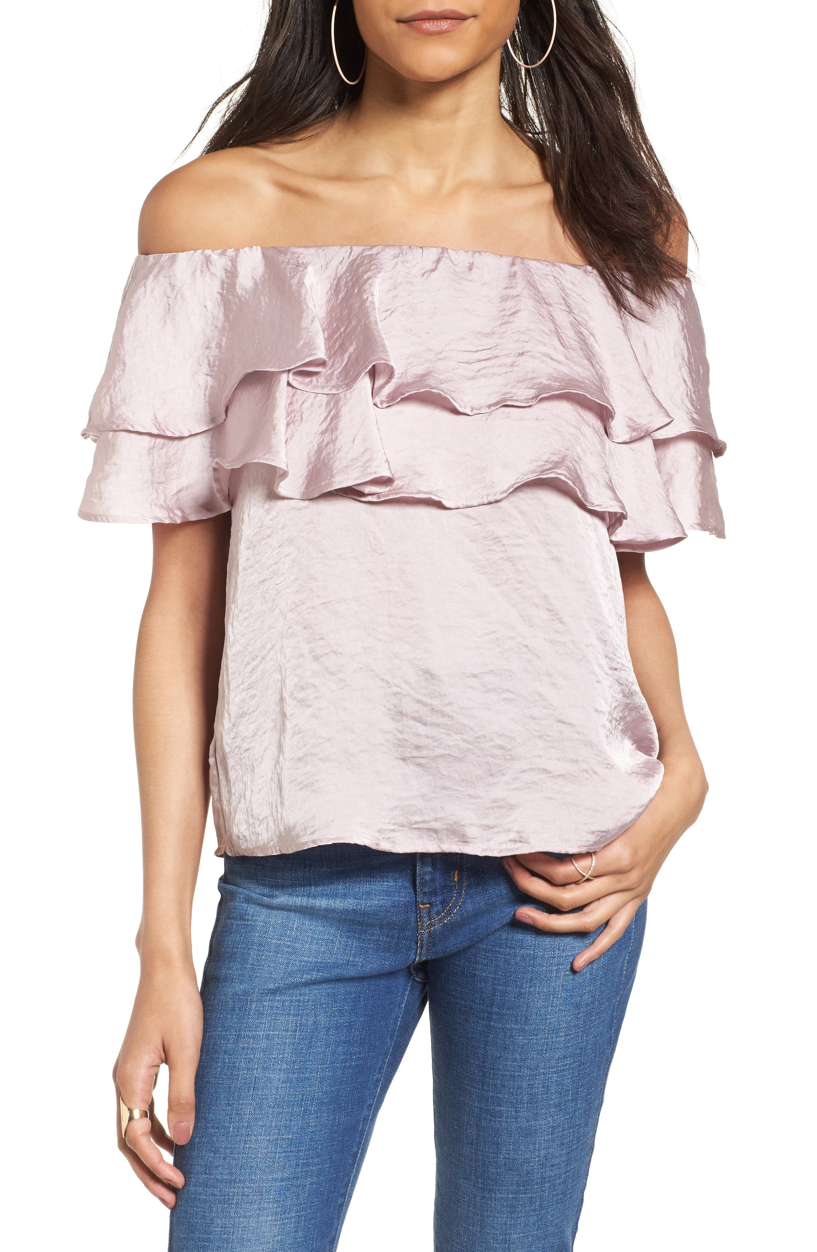 Ruffle Satin Off the Shoulder Top,                         Main,                         color, 530