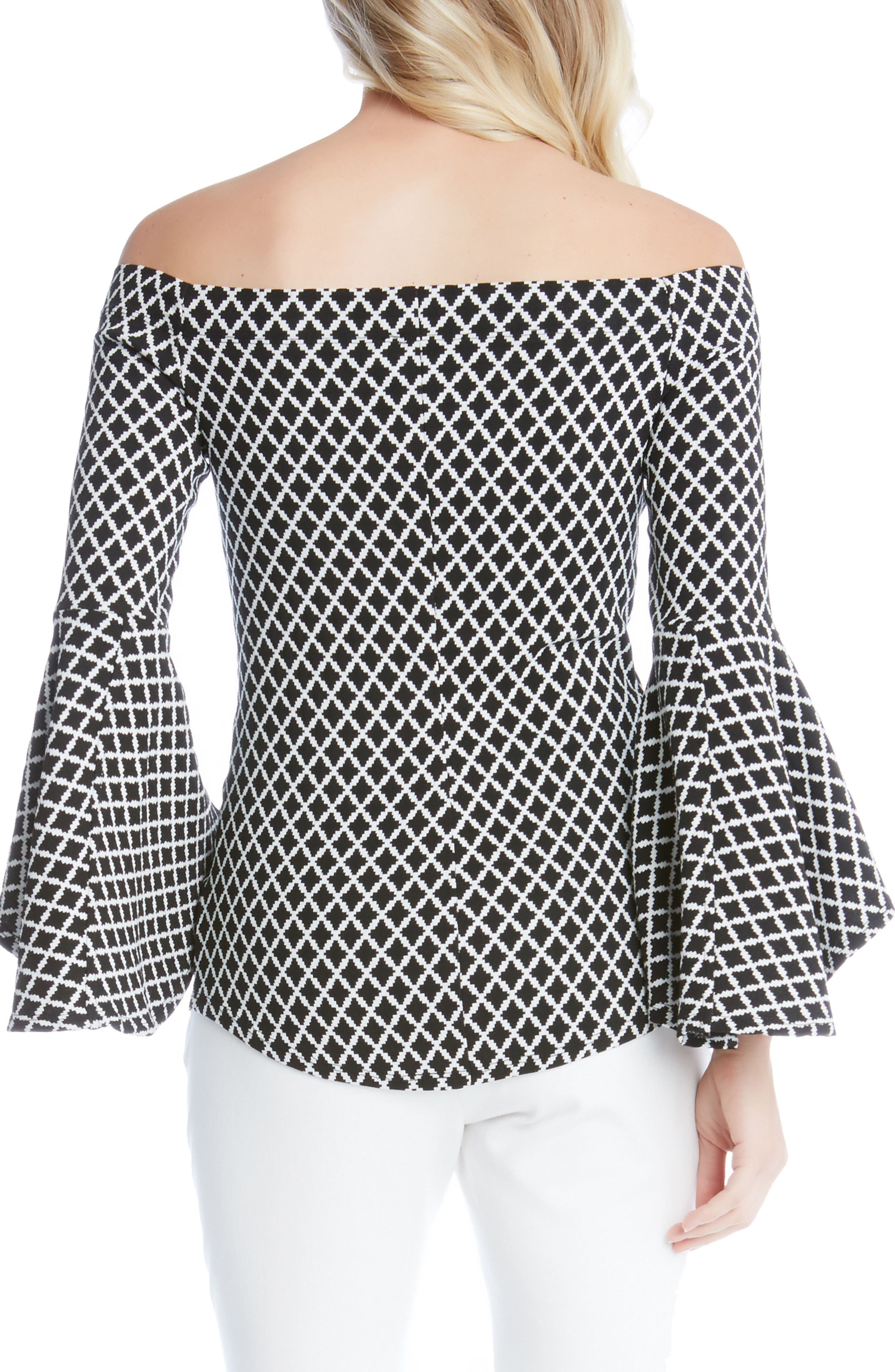 Diamond Print Off the Shoulder Bell Sleeve Top,                             Alternate thumbnail 2, color,                             013
