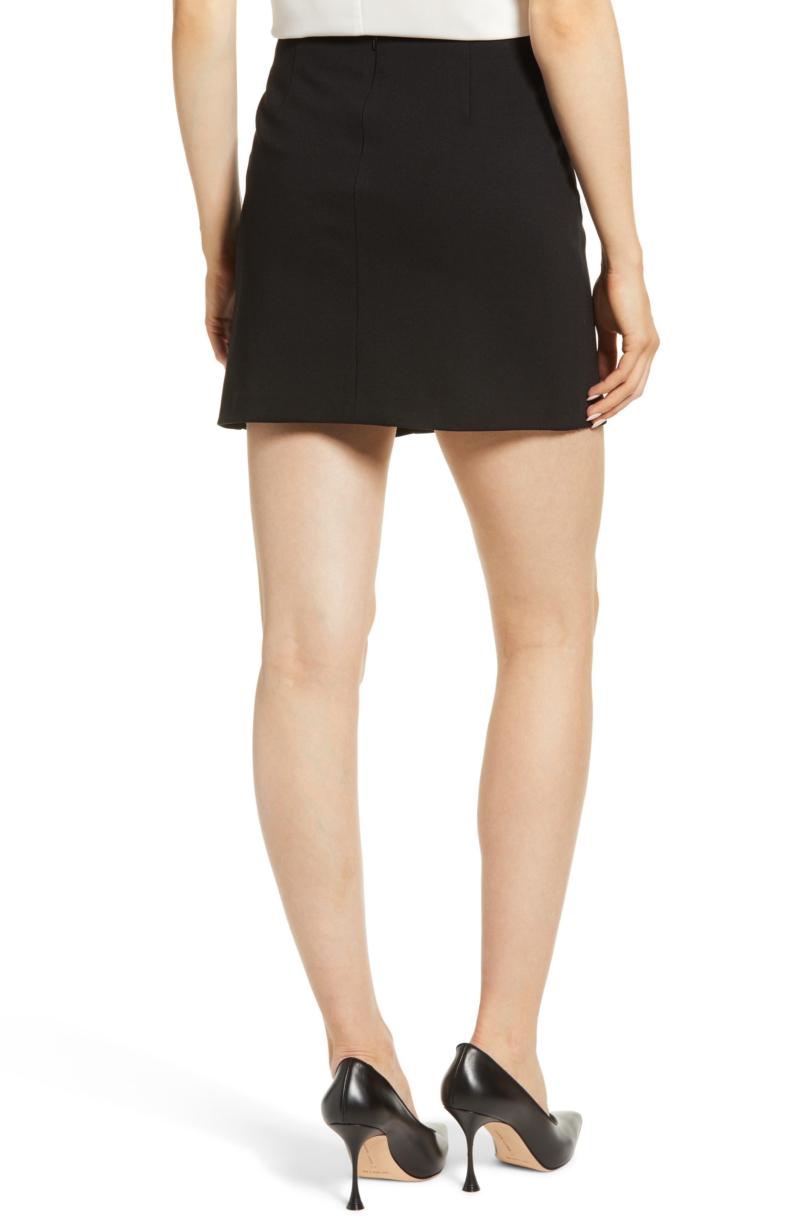 1.STATE,                             Ruched Detail Stretch Ponte Miniskirt,                             Alternate thumbnail 2, color,                             RICH BLACK