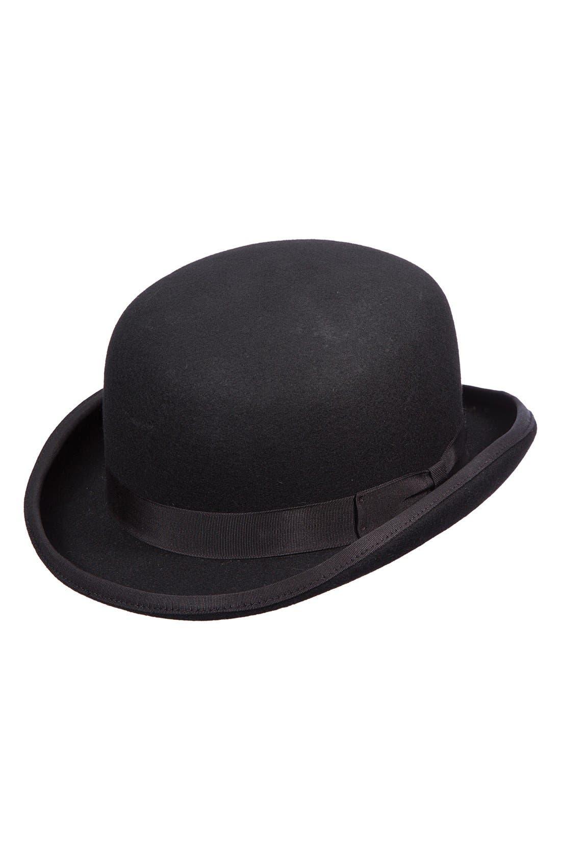 Wool Felt Bowler Hat,                         Main,                         color, BLACK