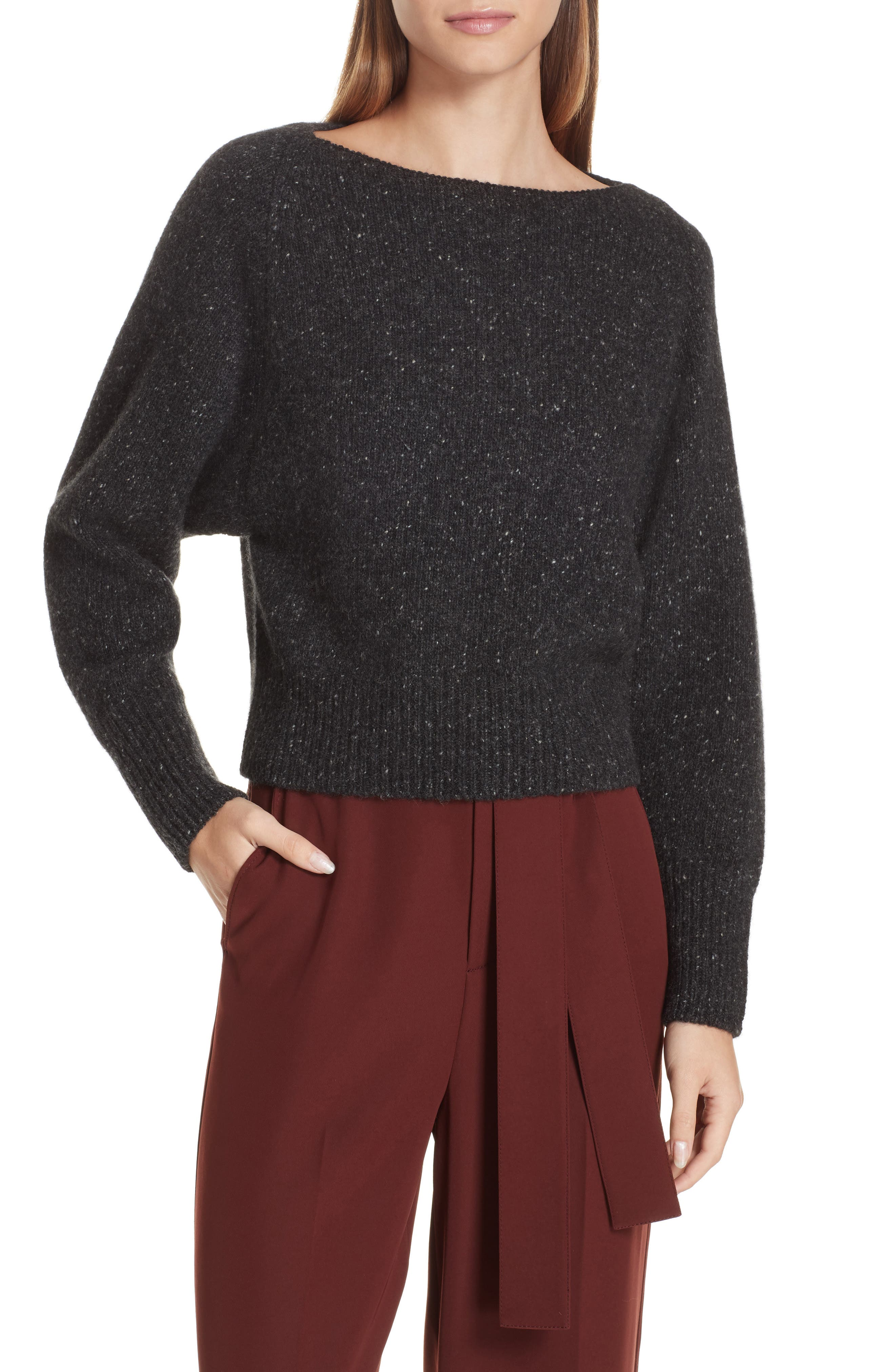 Cashmere Boatneck Sweater,                         Main,                         color, CHARCOAL