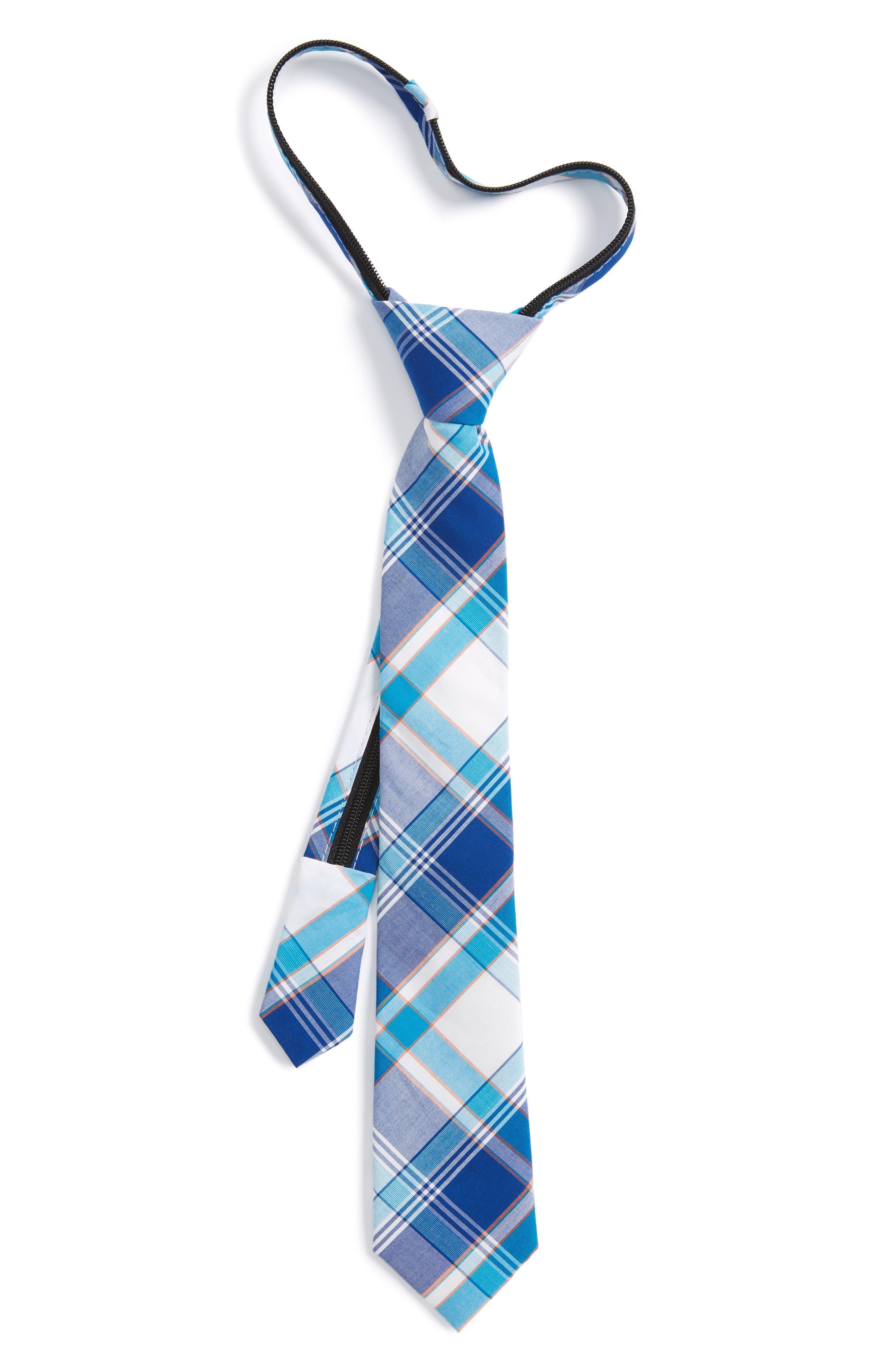 Plaid Cotton Zip Tie,                             Main thumbnail 2, color,