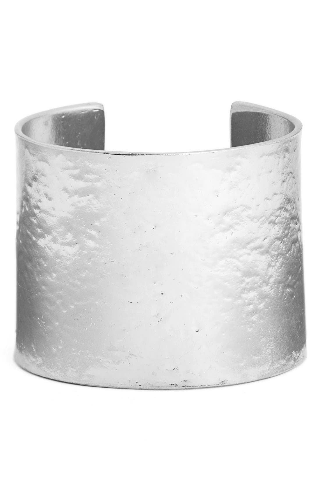 Hammered Cuff,                             Main thumbnail 1, color,                             SILVER