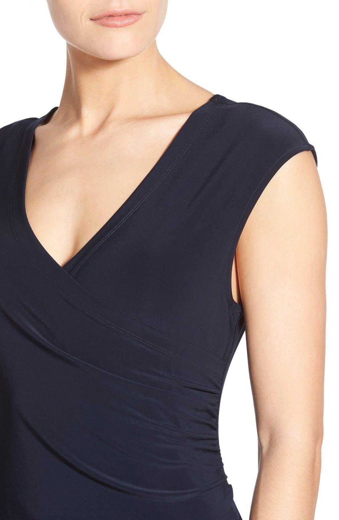 Matte Jersey Faux Wrap Fit & Flare Dress,                             Alternate thumbnail 15, color,