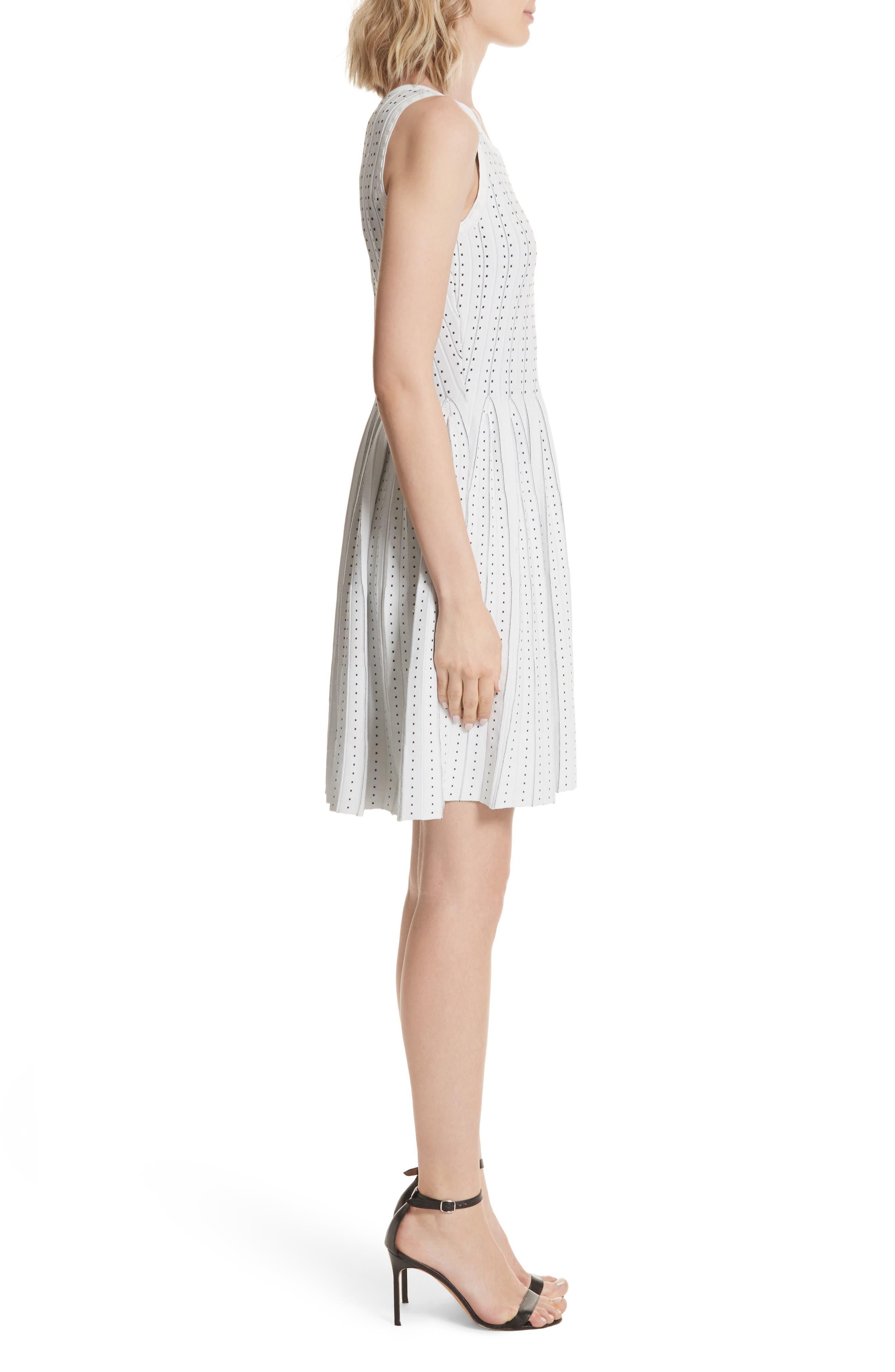 Dot Pleat Fit & Flare Dress,                             Alternate thumbnail 3, color,                             110