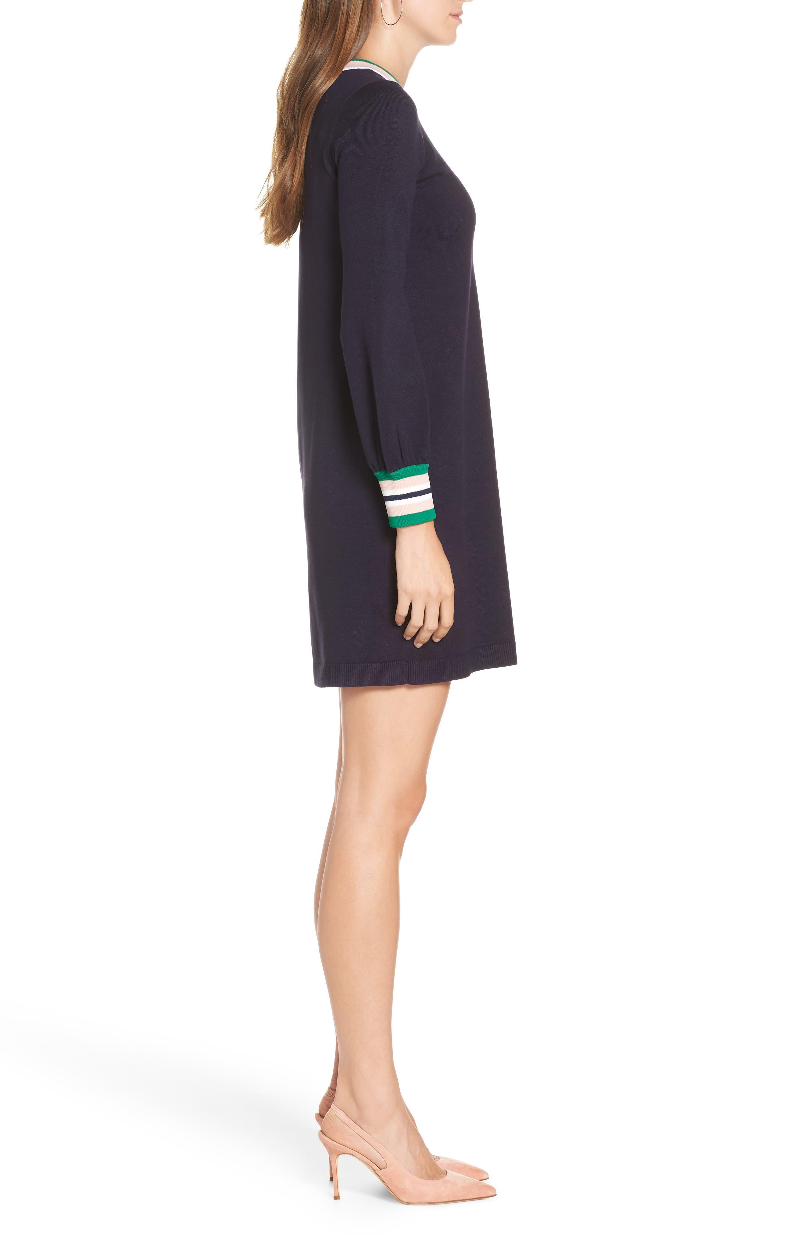 1901,                             Varsity Stripe Sweater Dress,                             Alternate thumbnail 3, color,                             NAVY