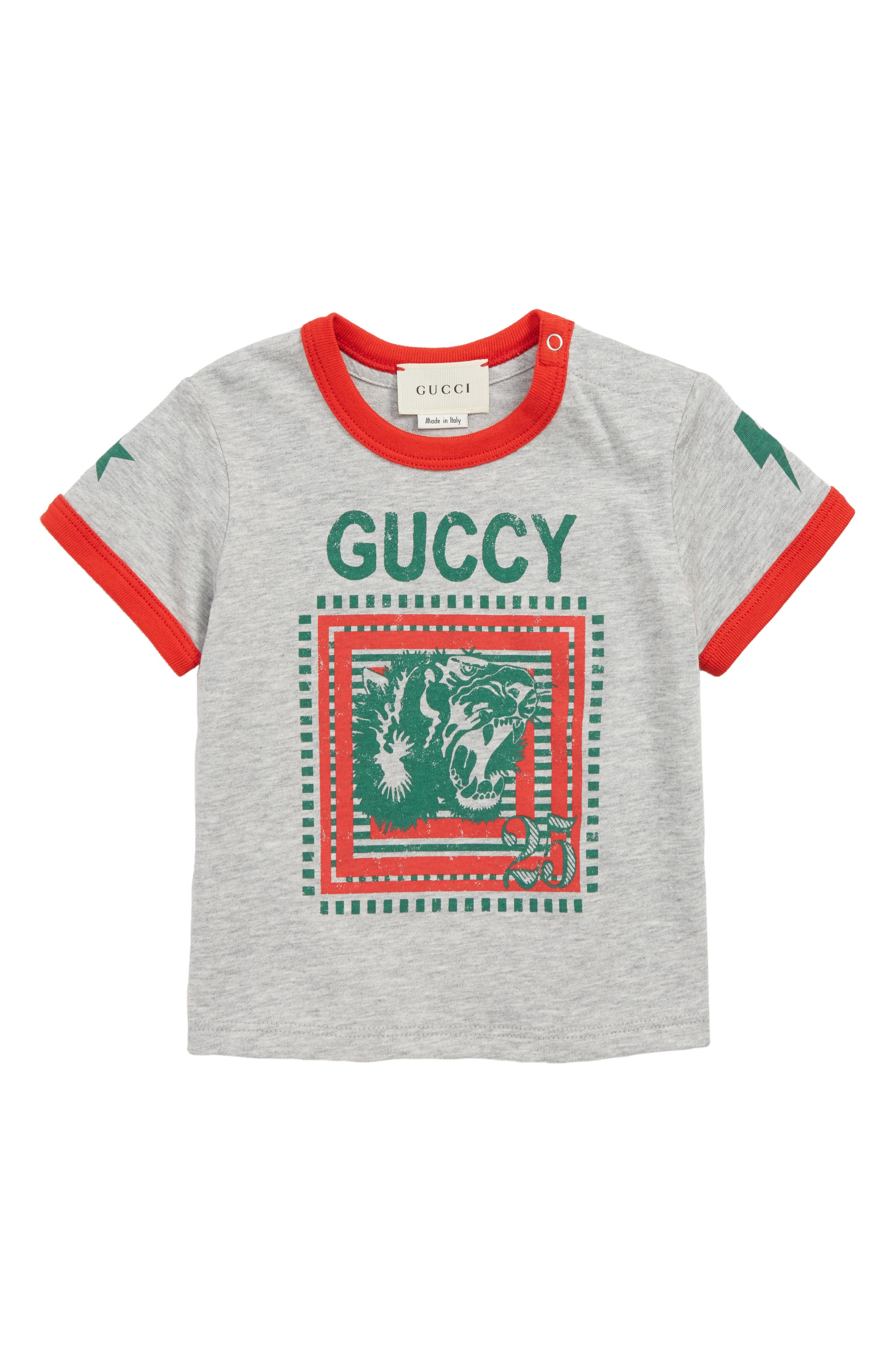 Guccy T-Shirt,                         Main,                         color, LIGHT GREY/ CANDY APPLE