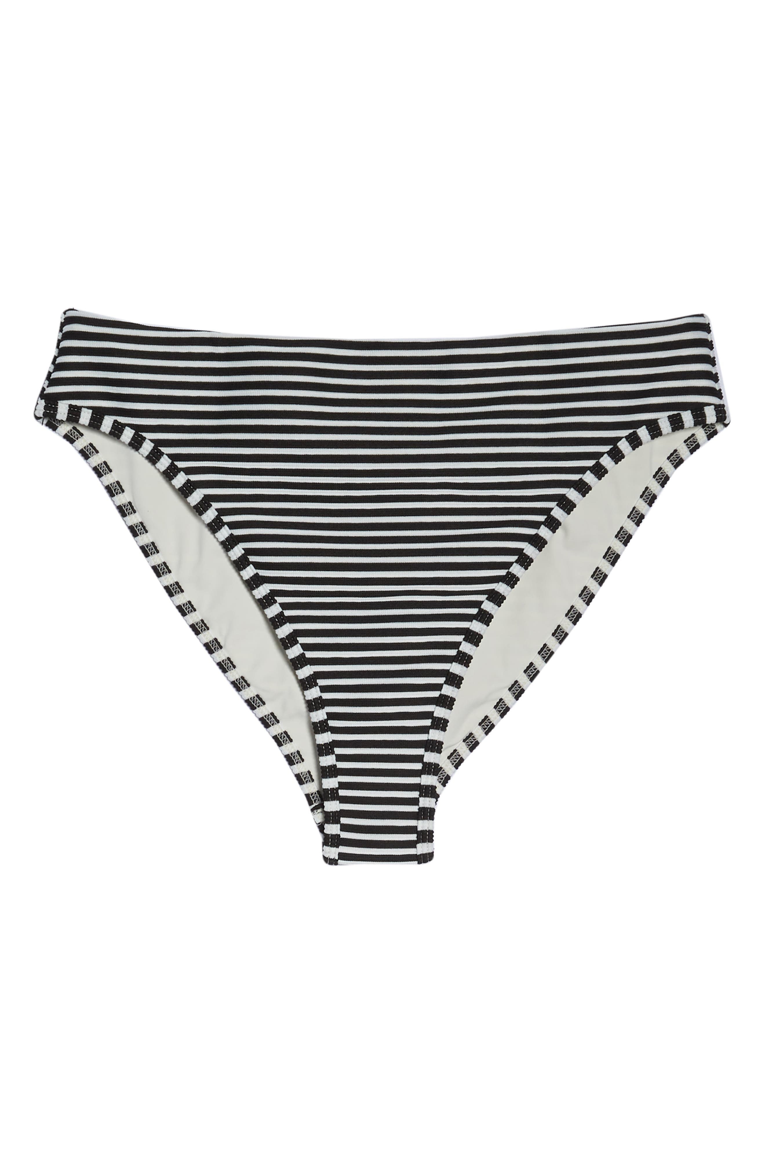 Pierre High Waist Bikini Bottoms,                             Alternate thumbnail 6, color,                             BLACK/ CREAM