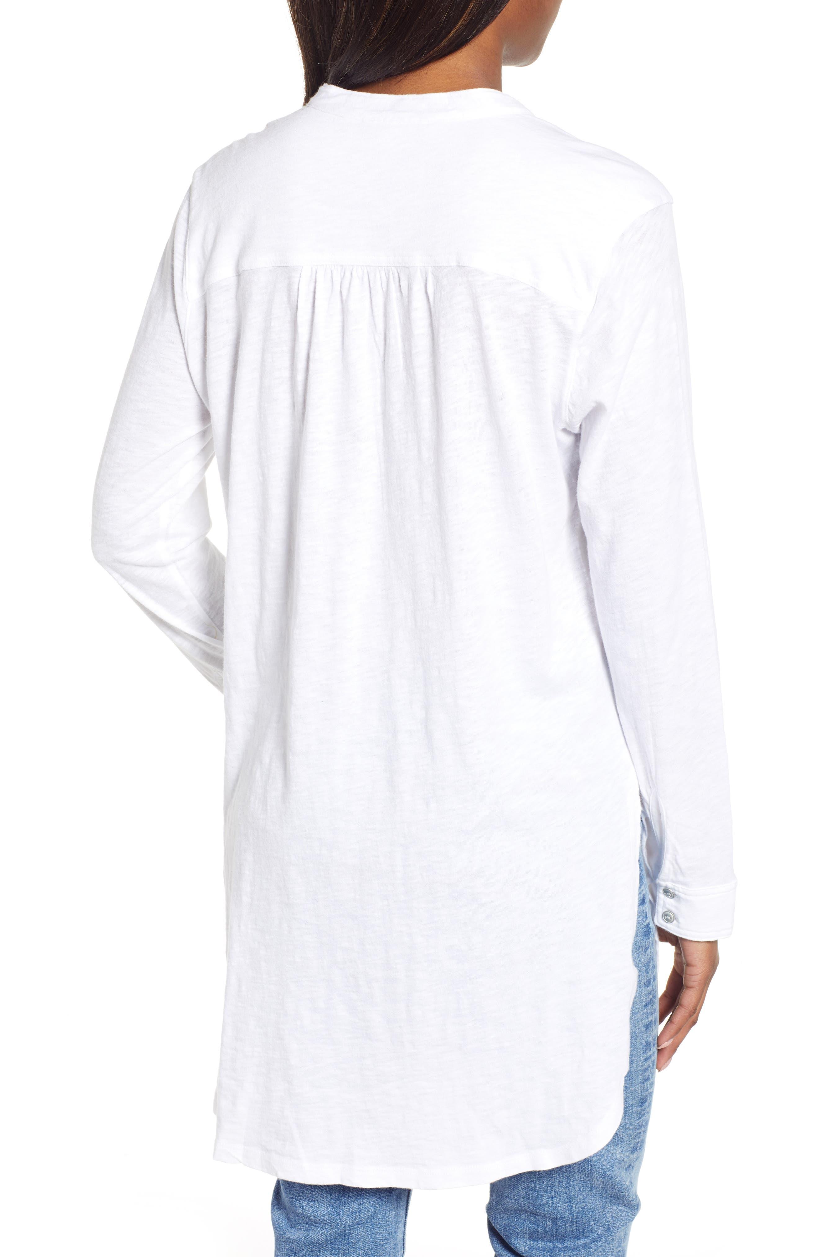 CASLON<SUP>®</SUP>,                             Button Down Knit Tunic,                             Alternate thumbnail 2, color,                             WHITE