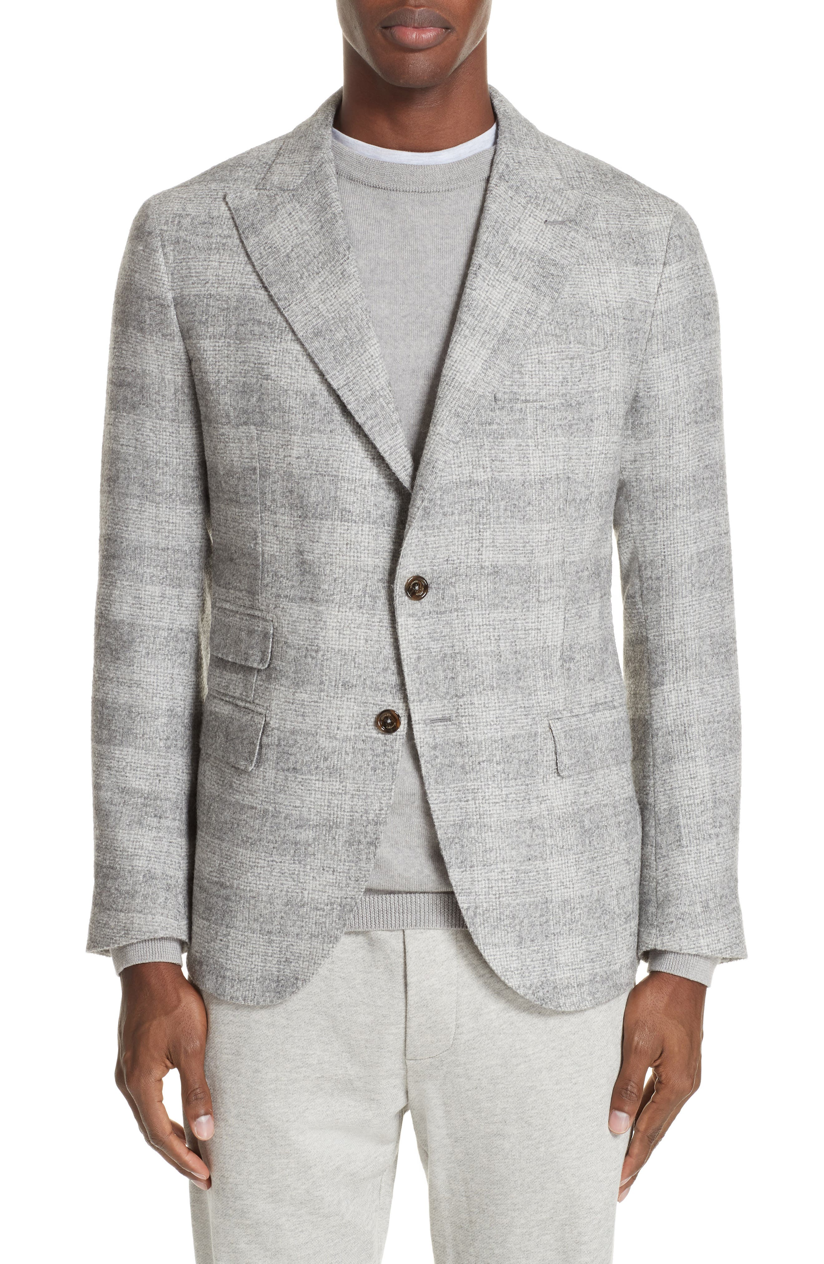 Trim Fit Houndstooth Alpaca Wool Blend Sport Coat,                             Main thumbnail 1, color,                             GREY