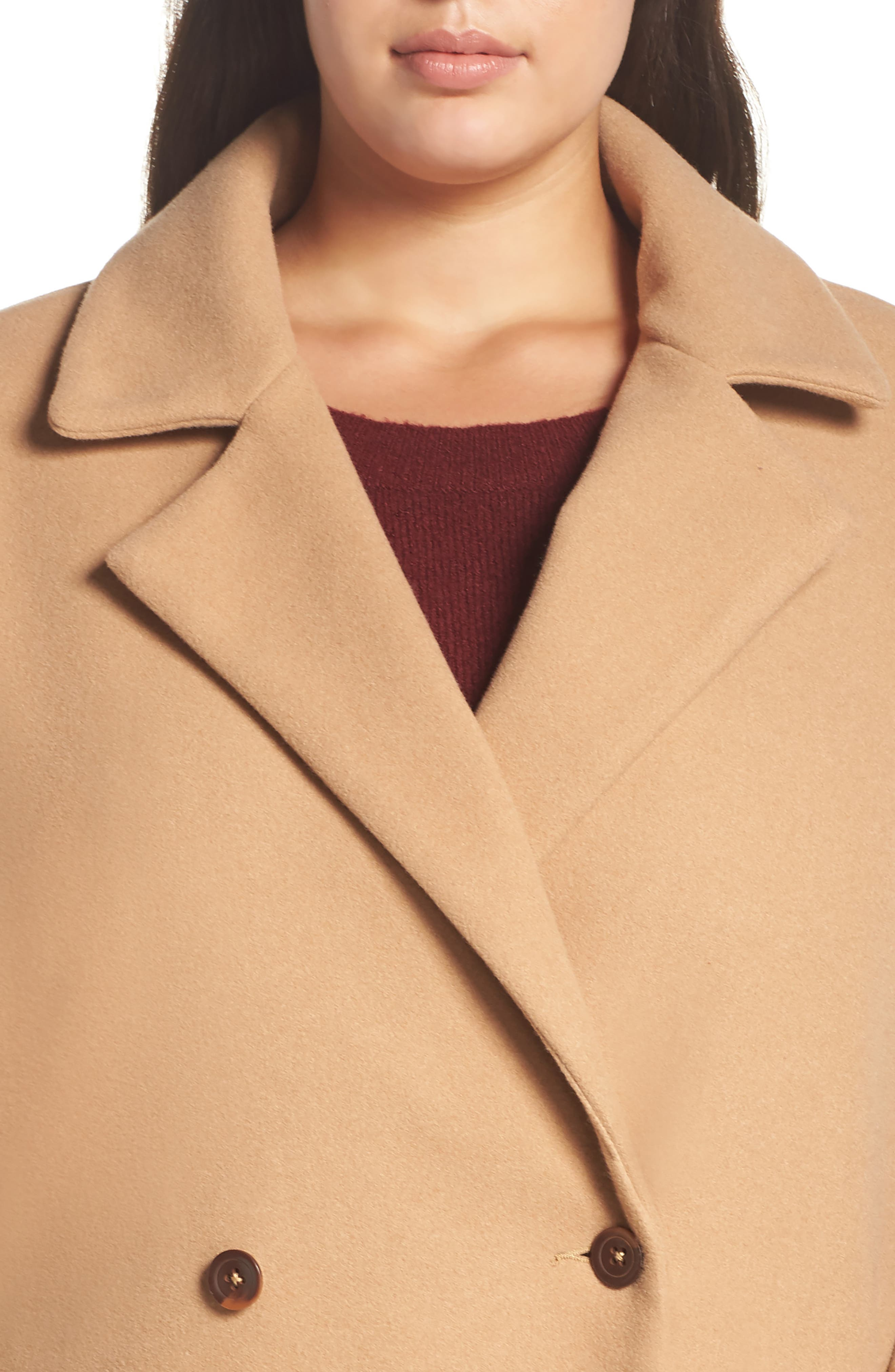 Oversize Double Breasted Coat,                             Alternate thumbnail 4, color,                             TAN