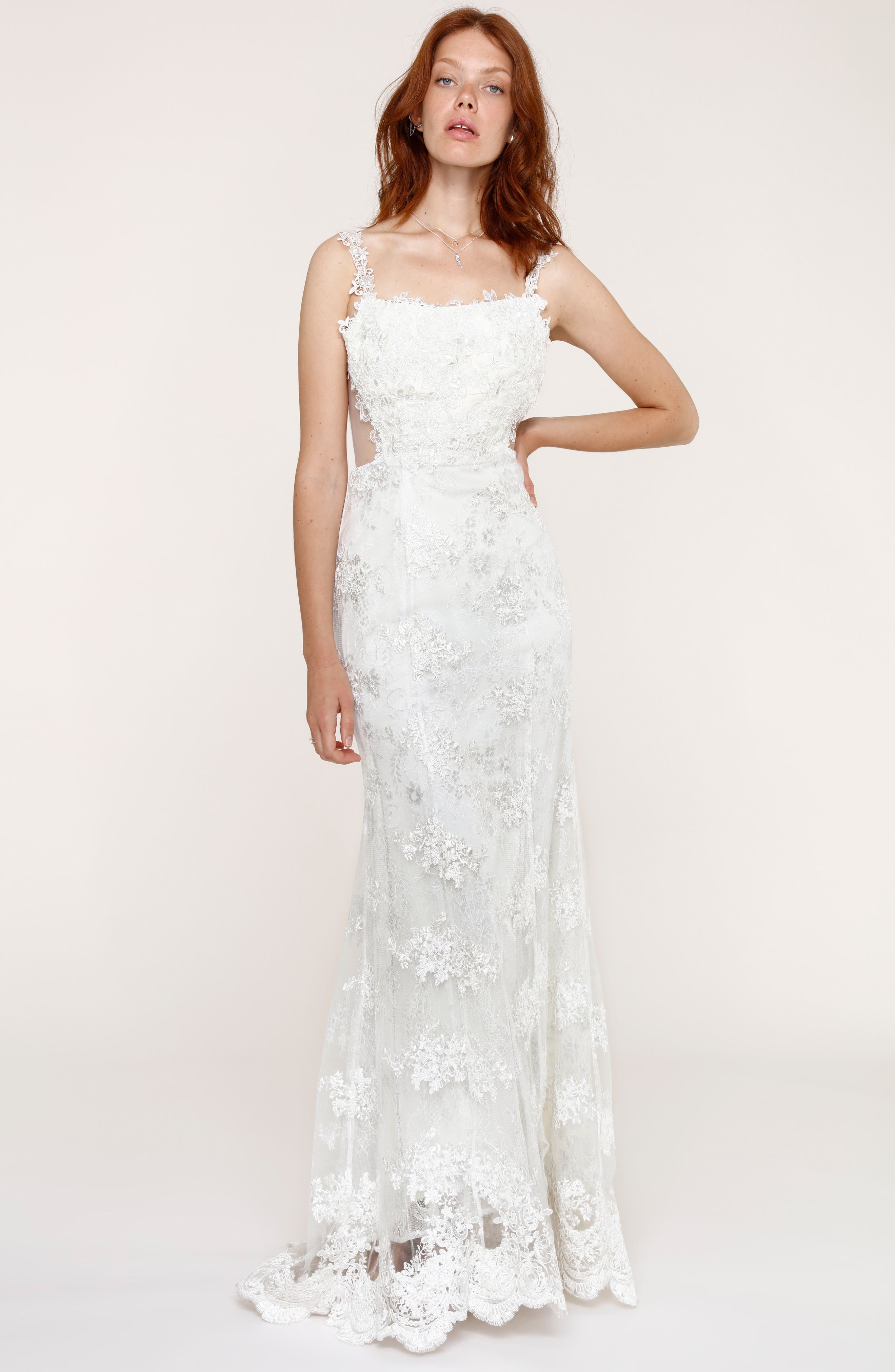 Andie Illusion Side Lace Mermaid Gown,                             Alternate thumbnail 6, color,                             900