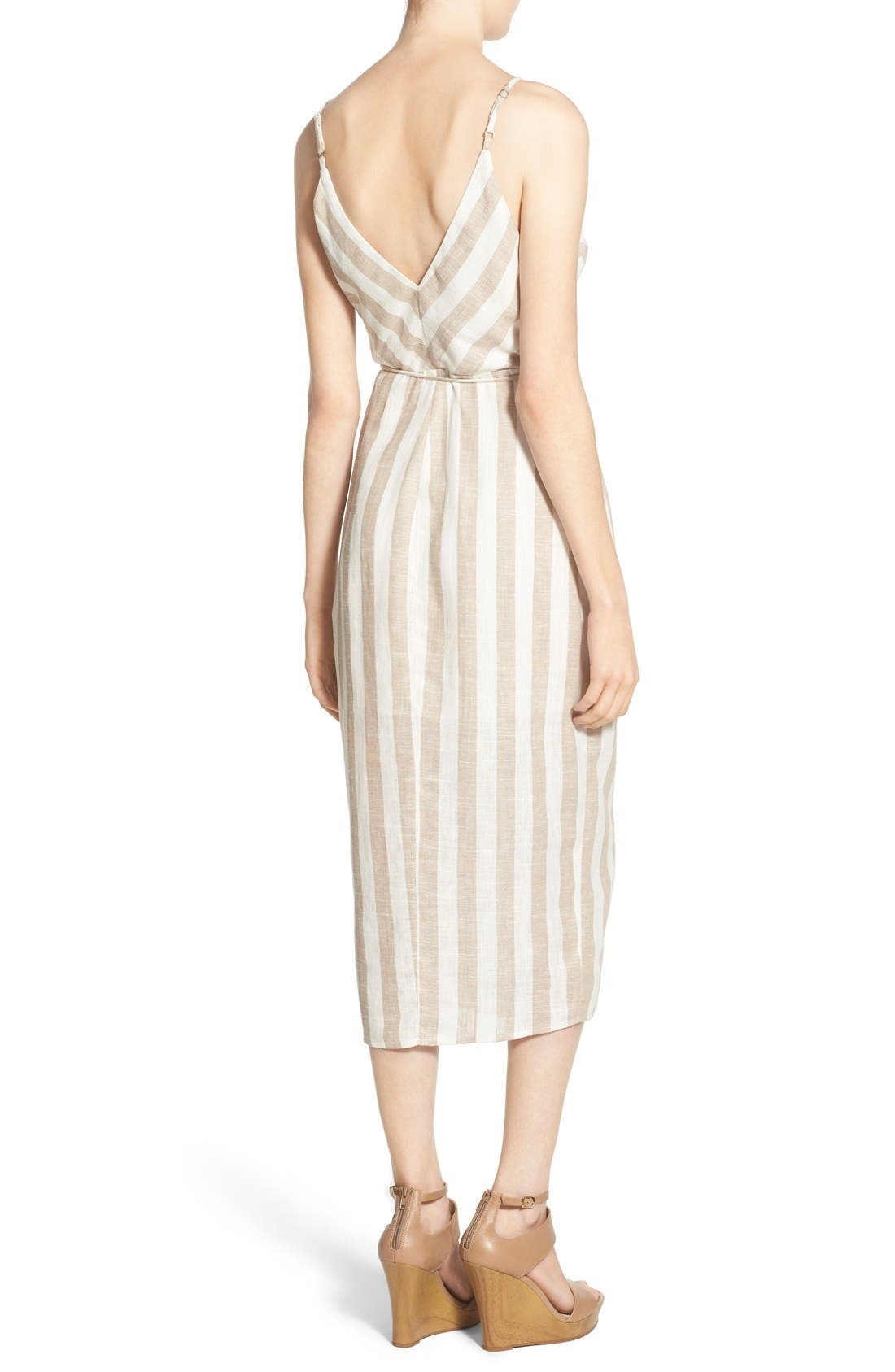 ASTR THE LABEL,                             ASTR Linen Blend Wrap Dress,                             Alternate thumbnail 4, color,                             250