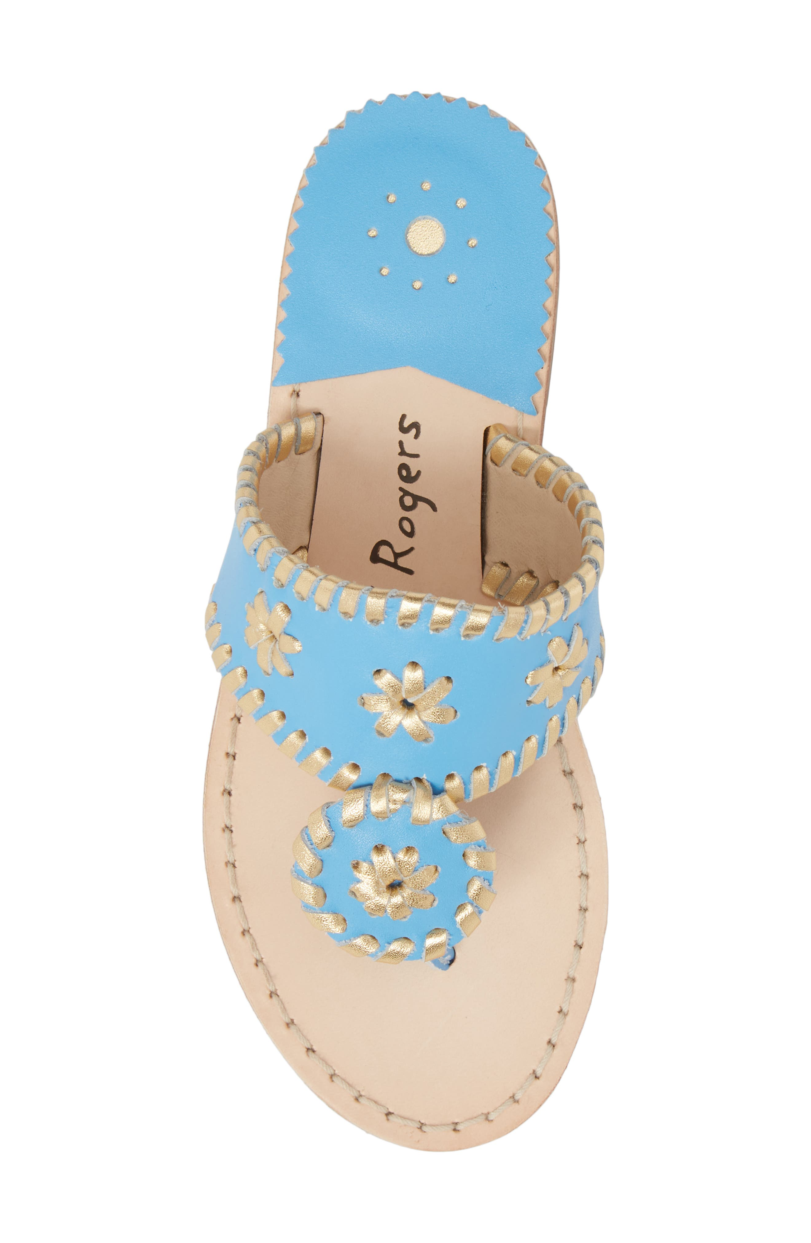Miss Hollis Metallic Trim Thong Sandal,                             Alternate thumbnail 5, color,                             FRENCH BLUE/ GOLD LEATHER