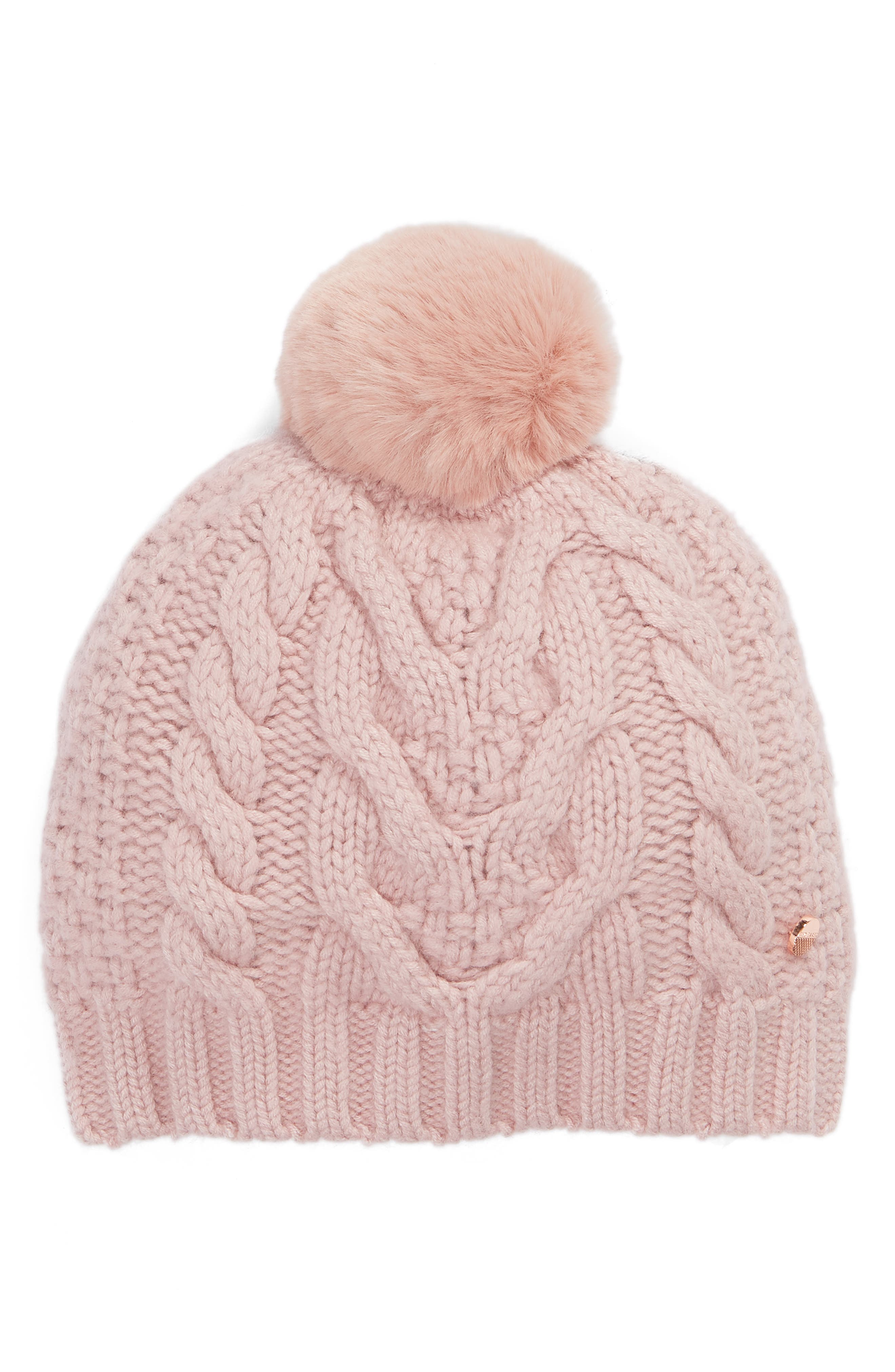 Quirsa Faux Fur Pom-Pom Cable-Knit Beanie in Pale Pink