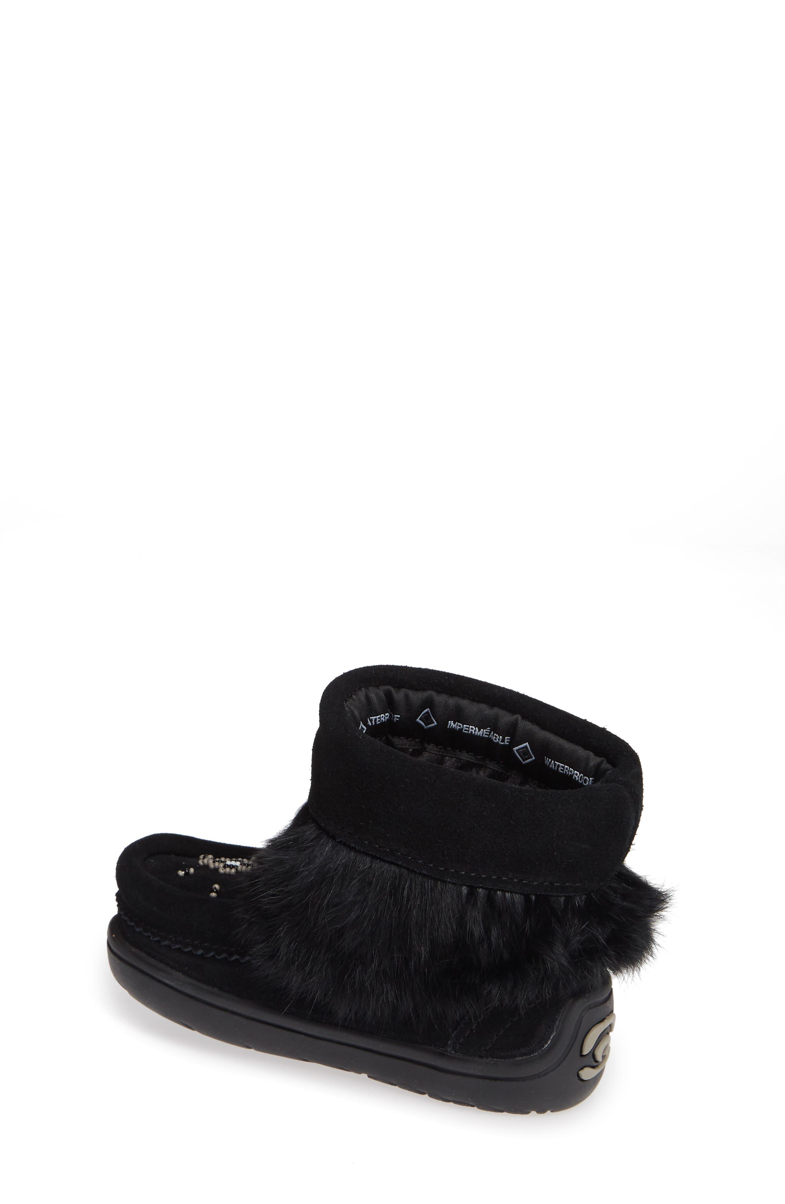 Snowy Owlet Genuine Fur Waterproof Boot,                             Alternate thumbnail 2, color,                             BLACK