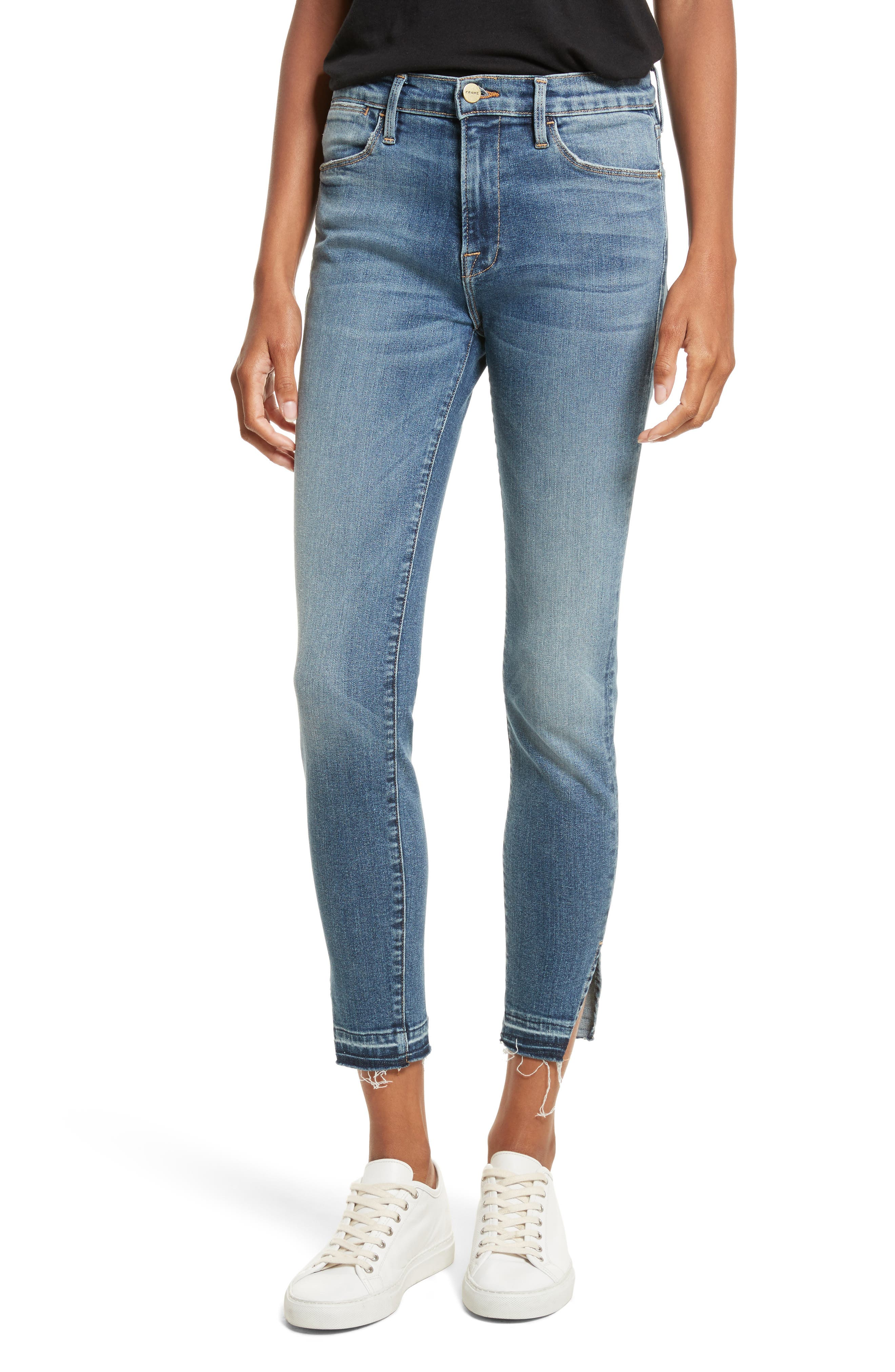 Le High Raw Hem Skinny Jeans,                             Main thumbnail 1, color,