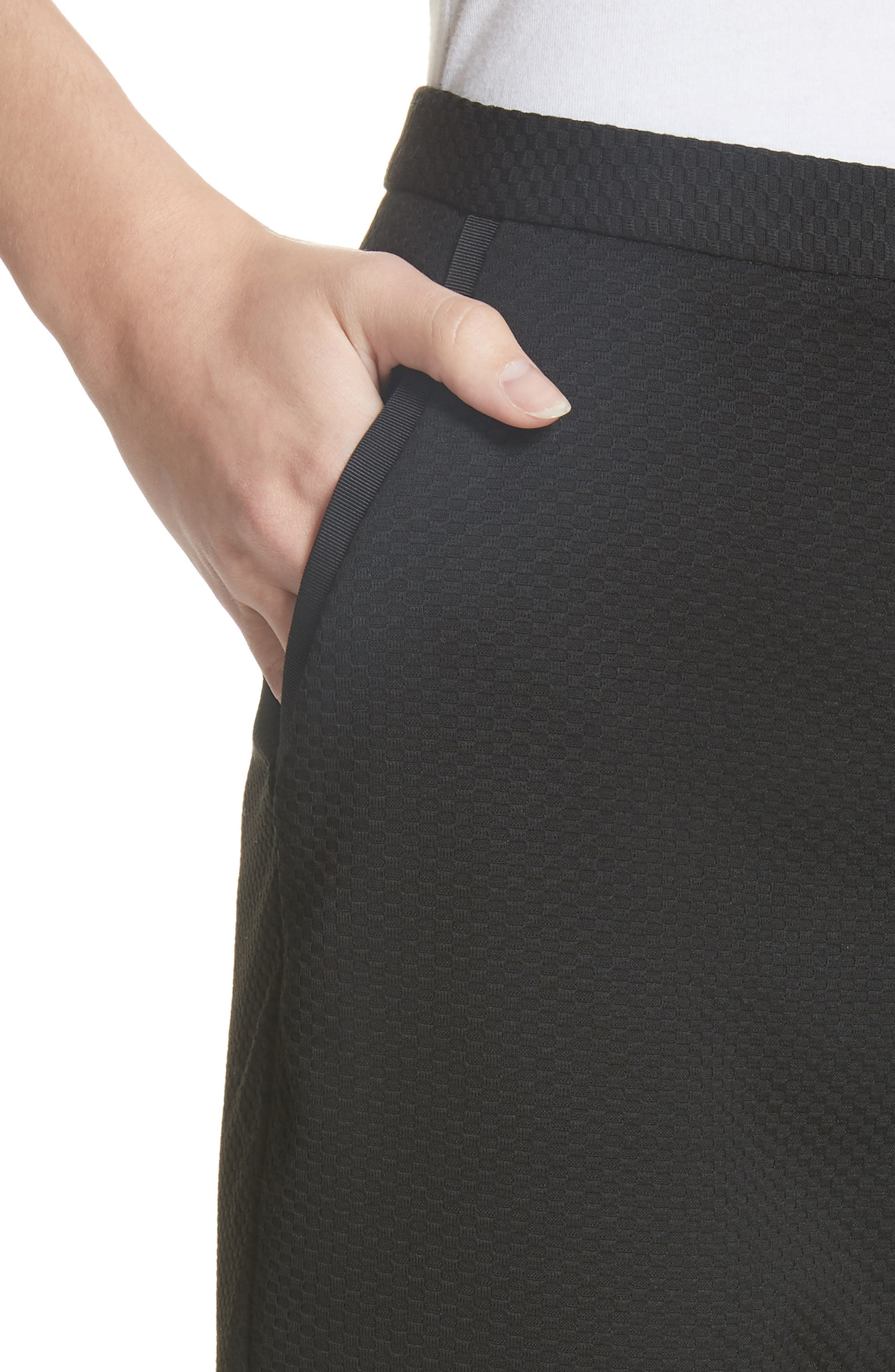 Ted Working Title Nadaet Bow Detail Textured Trousers,                             Alternate thumbnail 4, color,                             001