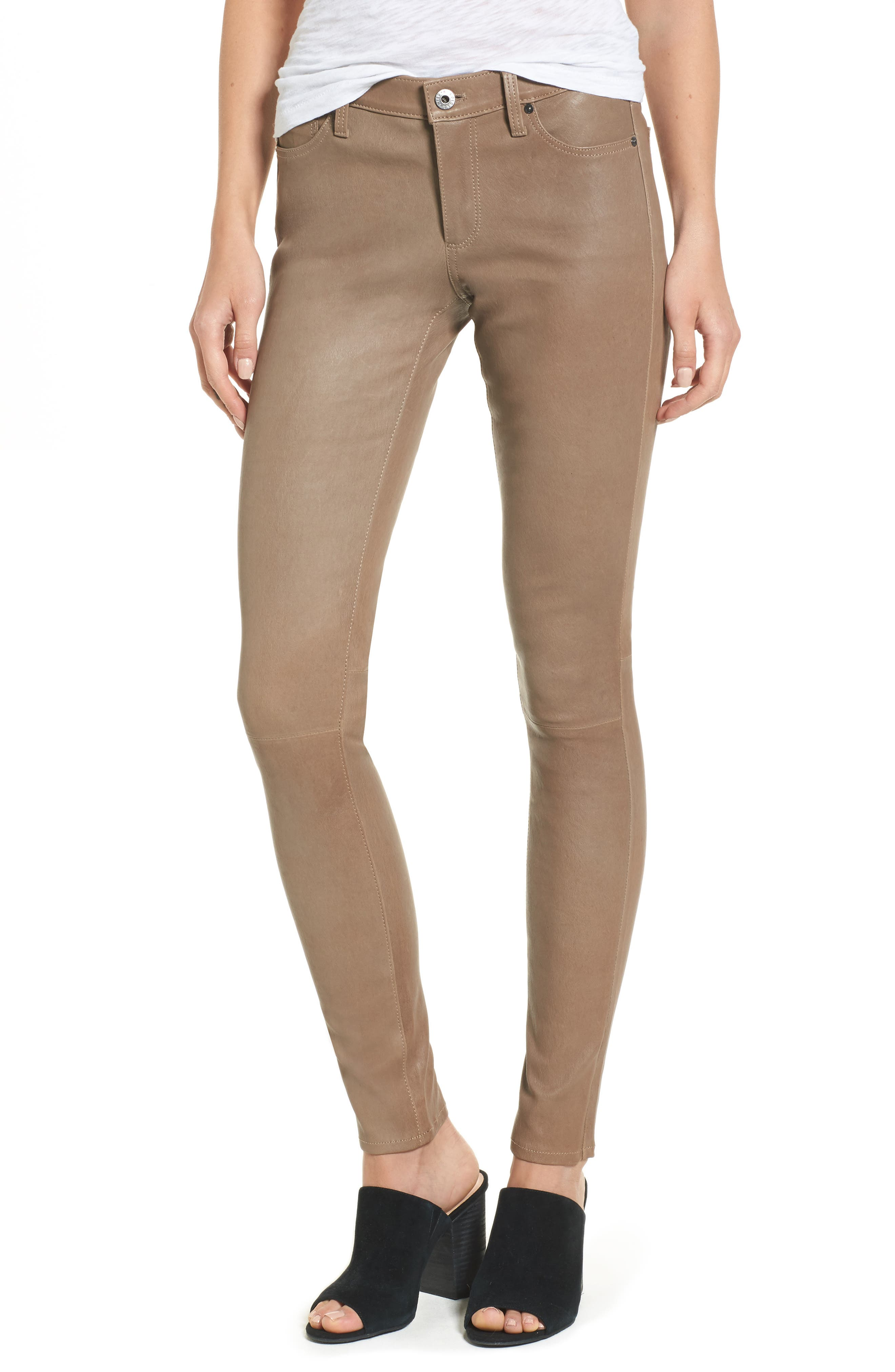 The Legging Super Skinny Leather Pants,                             Main thumbnail 1, color,                             RUSTIC TAUPE
