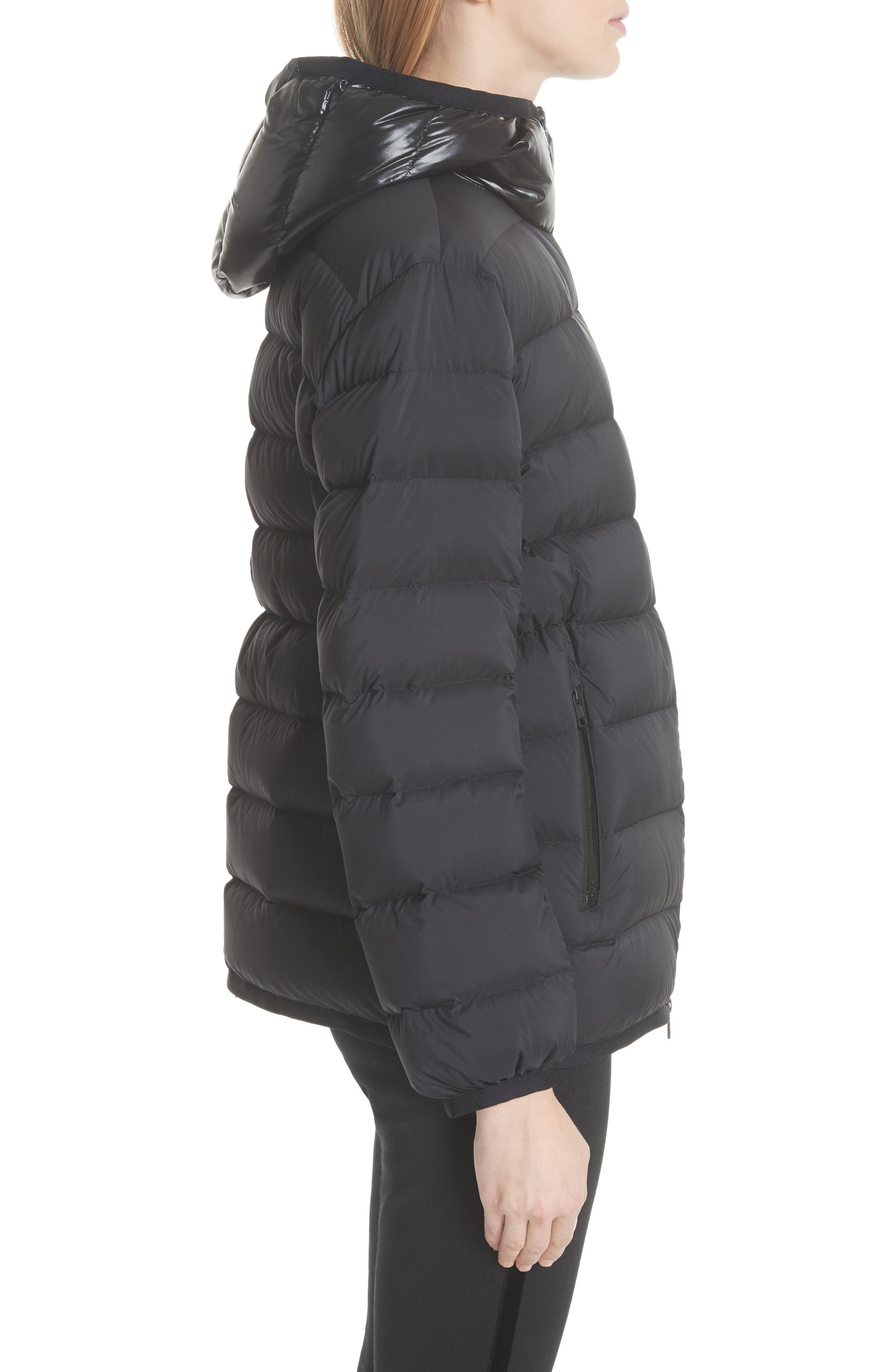Goeland Quilted Down Jacket,                             Alternate thumbnail 4, color,                             BLACK