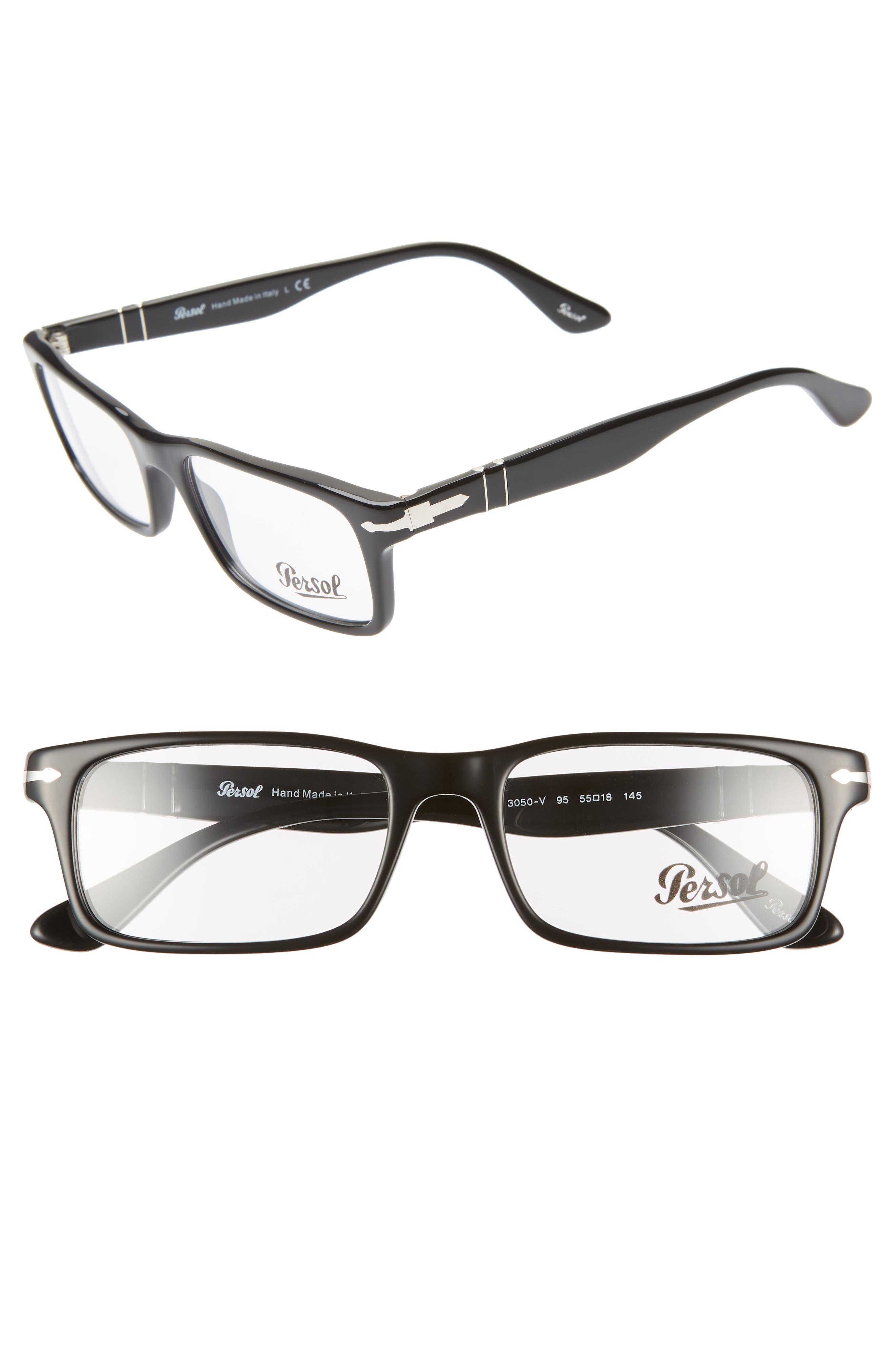 55mm Rectangle Optical Glasses, Main, color, BLACK