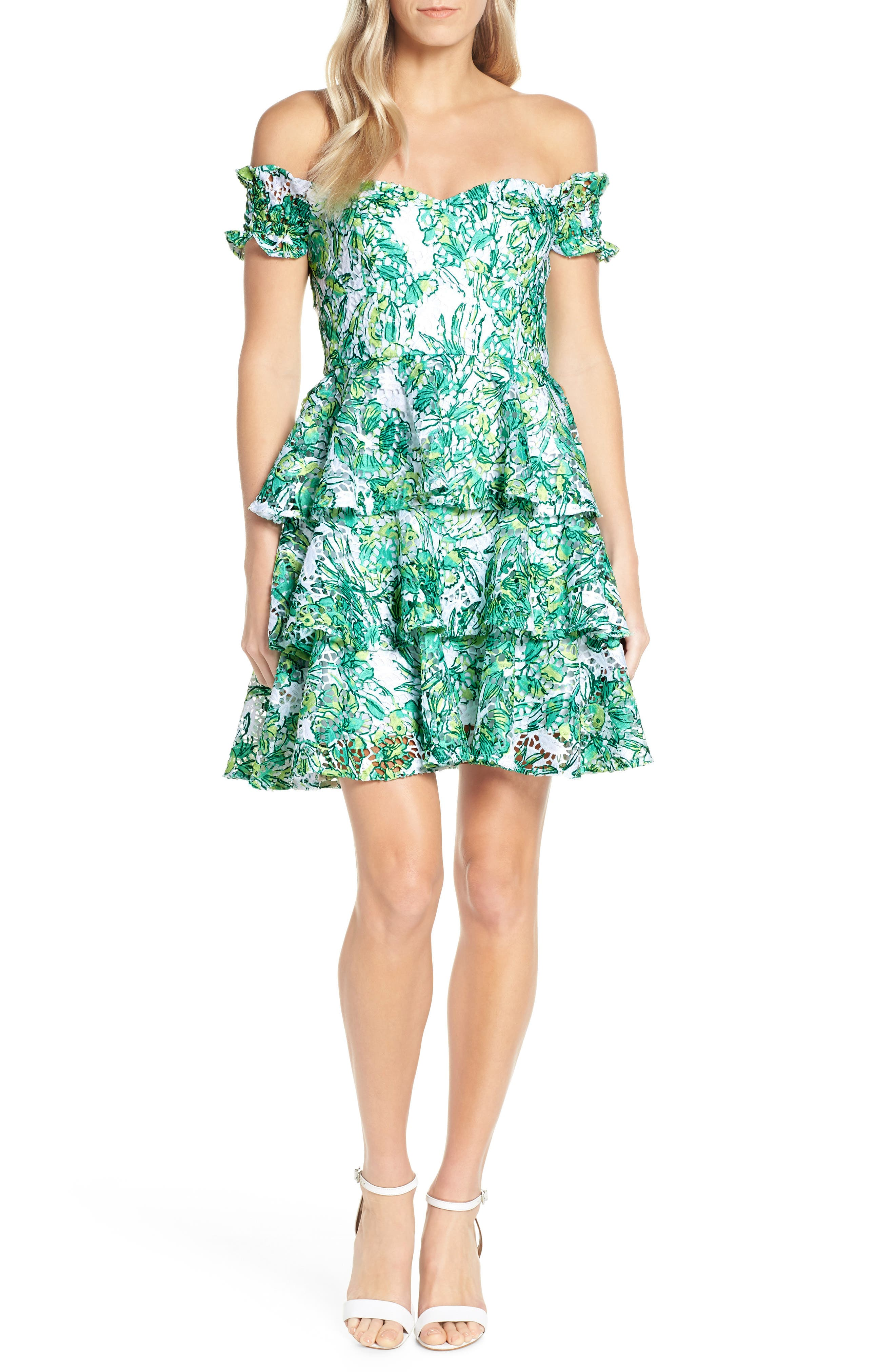 Lilly Pulitzer Cicely Off The Shoulder Dress, White