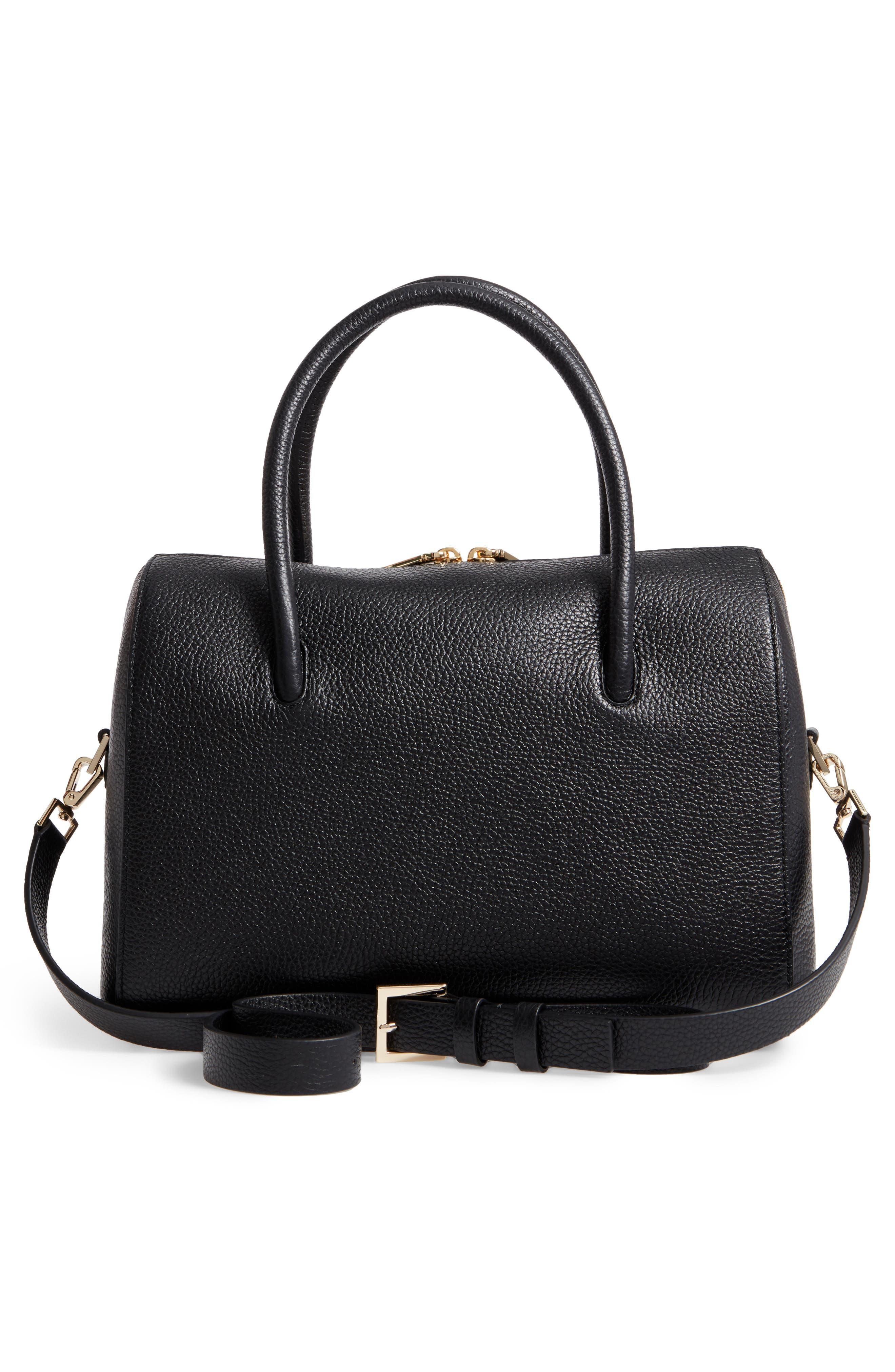 mega madison knollwood drive - lane leather satchel,                             Alternate thumbnail 3, color,                             001