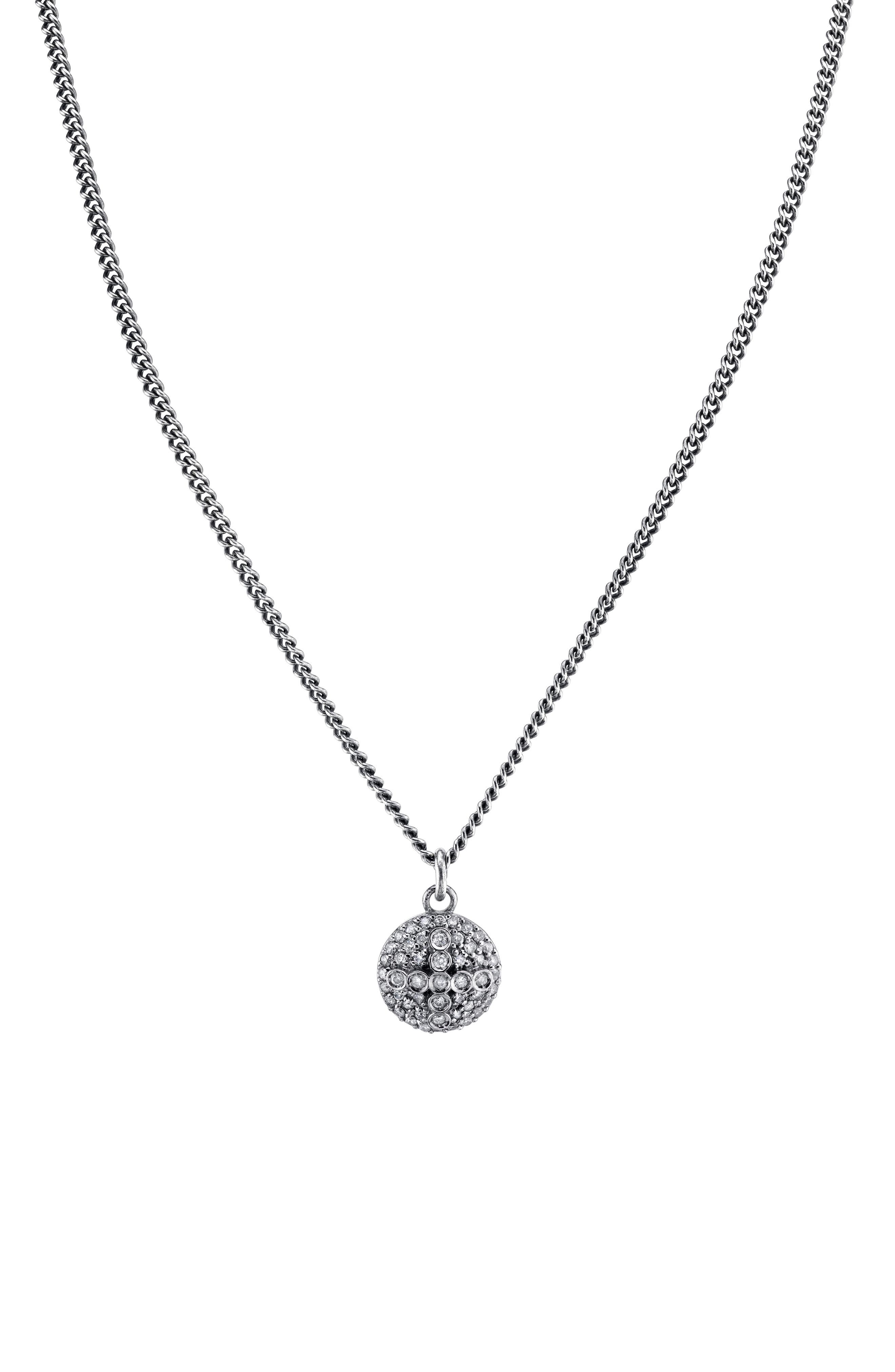 Pave Dome Cross Pendant Necklace in Sterling Silver