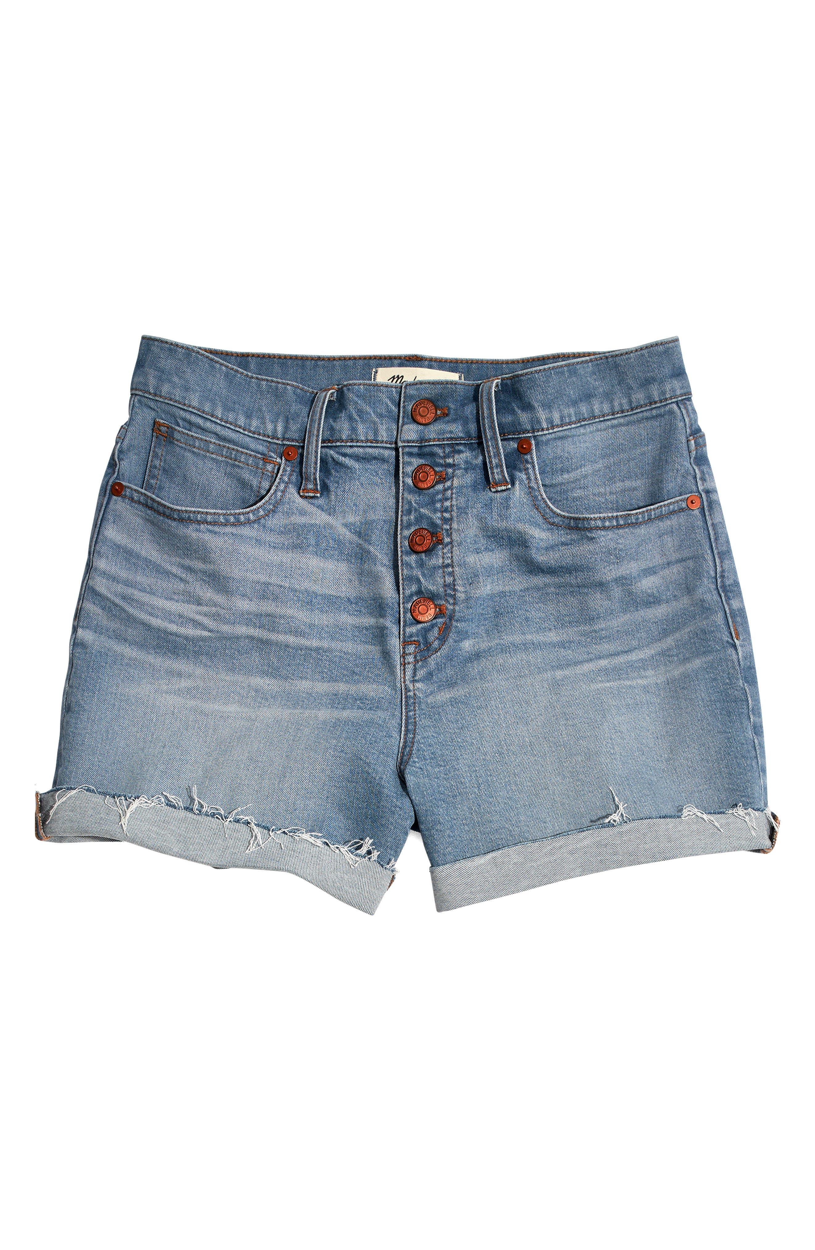 MADEWELL,                             Button Front High Waist Denim Shorts,                             Alternate thumbnail 5, color,                             400