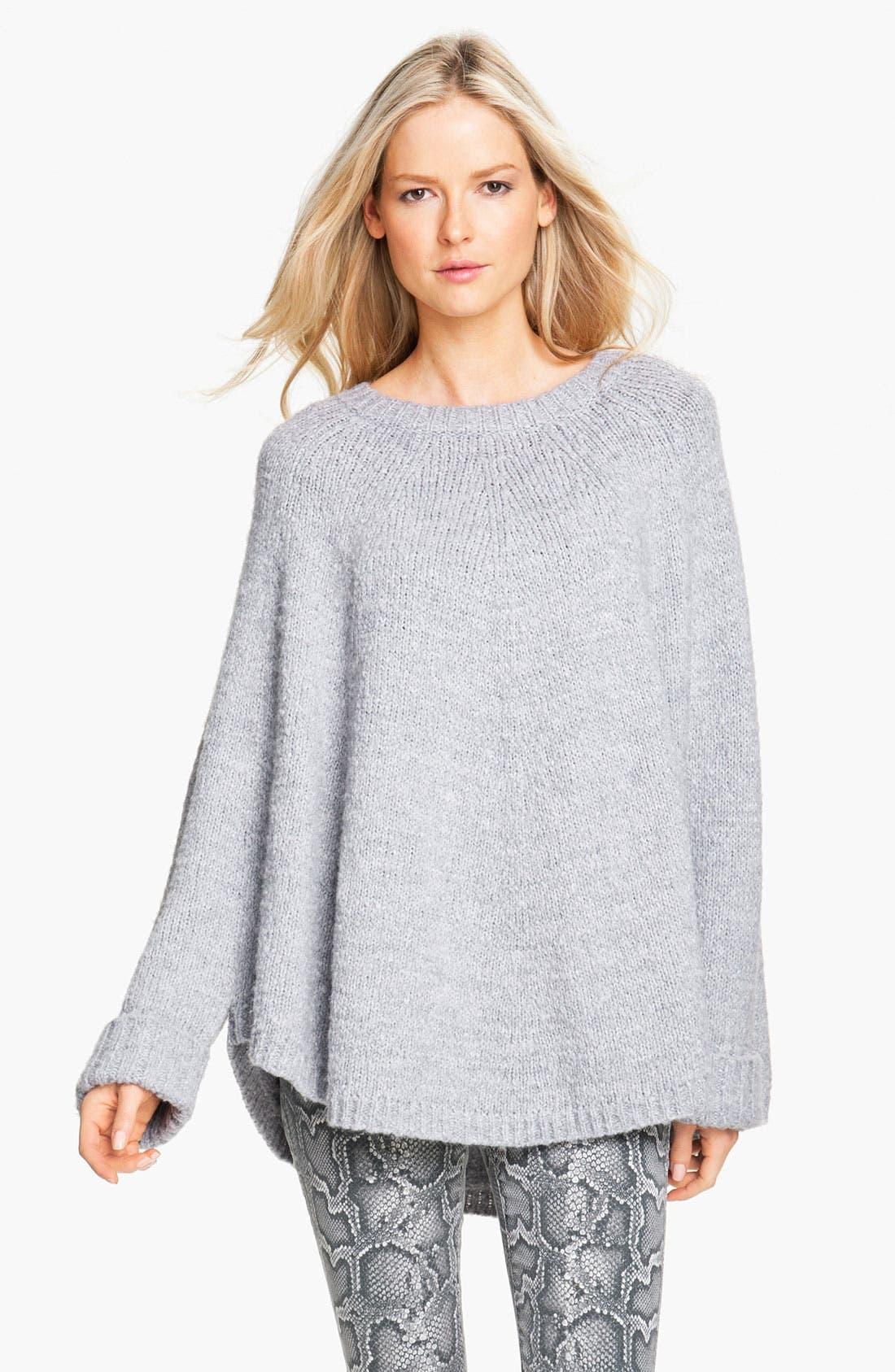 Faux Fur Trim Poncho Sweater,                             Alternate thumbnail 4, color,                             035