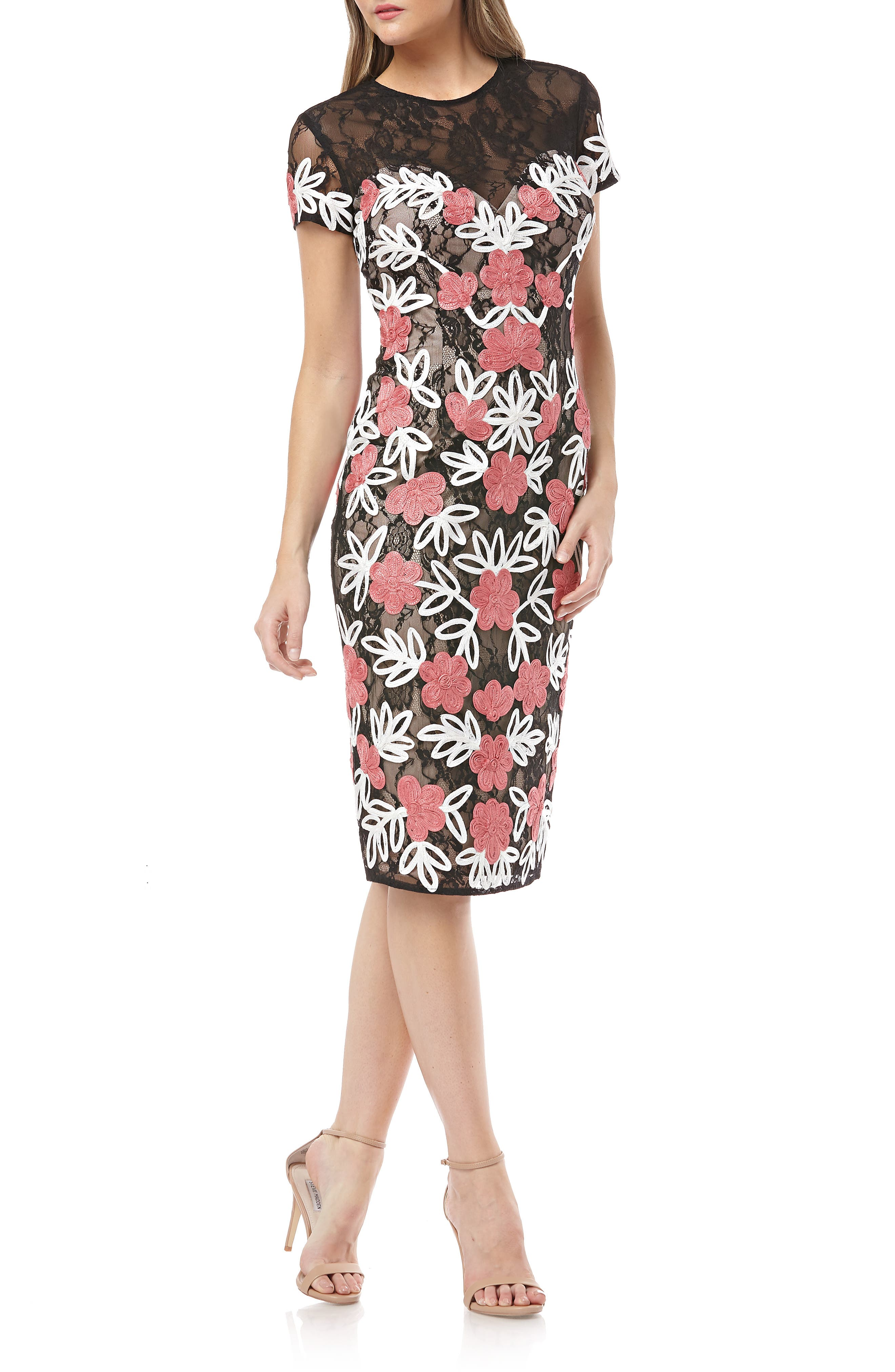 Js Collections Floral Two Tone Embroidered Dress, Black